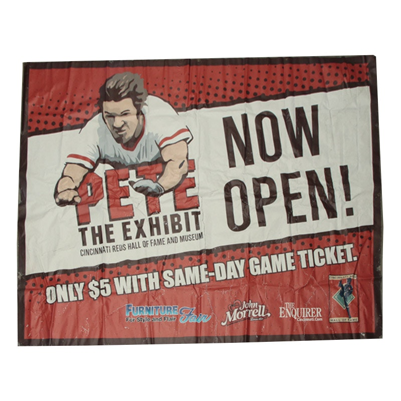 """""""Pete The Exhibit"""" Reds Hall of Fame Banner COA"""