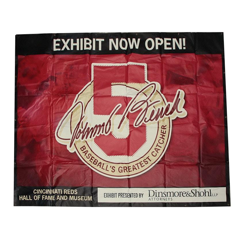 Cincinnati Reds Hall of Fame Johnny Bench Exhibit Banner COA