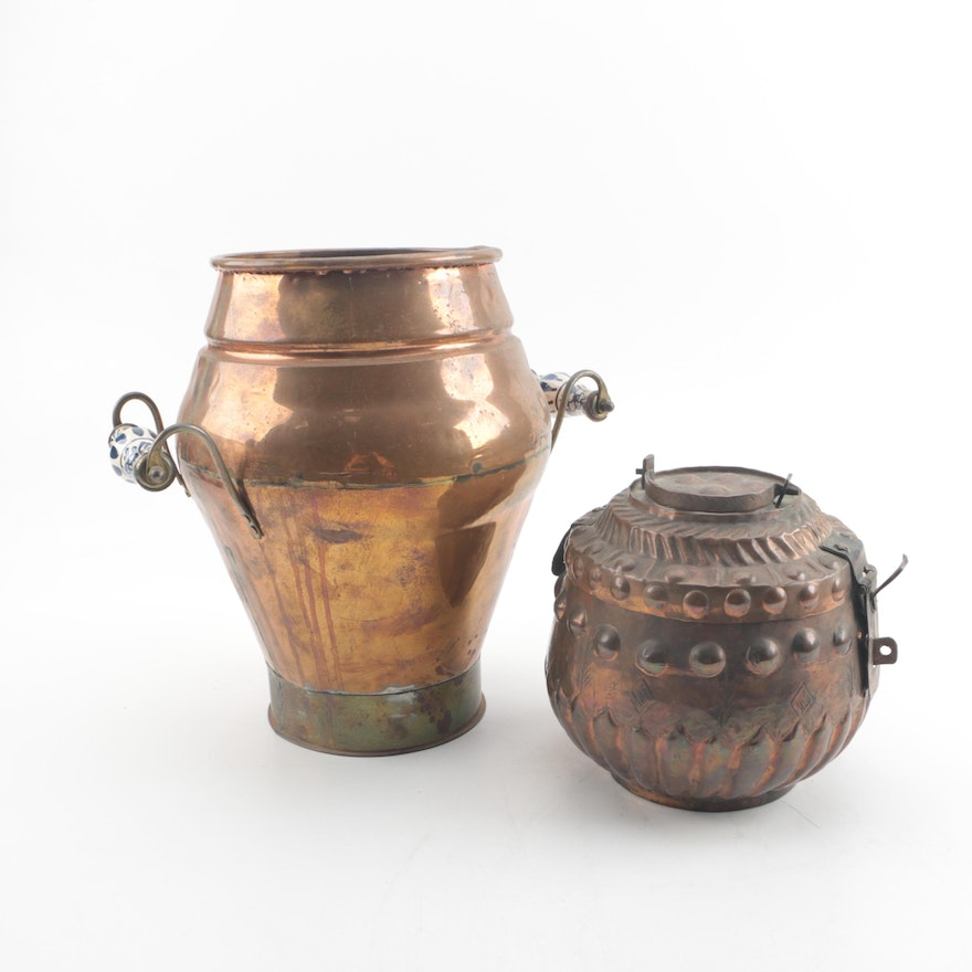 Copper Urn with Ceramic Handles and Lidded Copper Vessel : EBTH