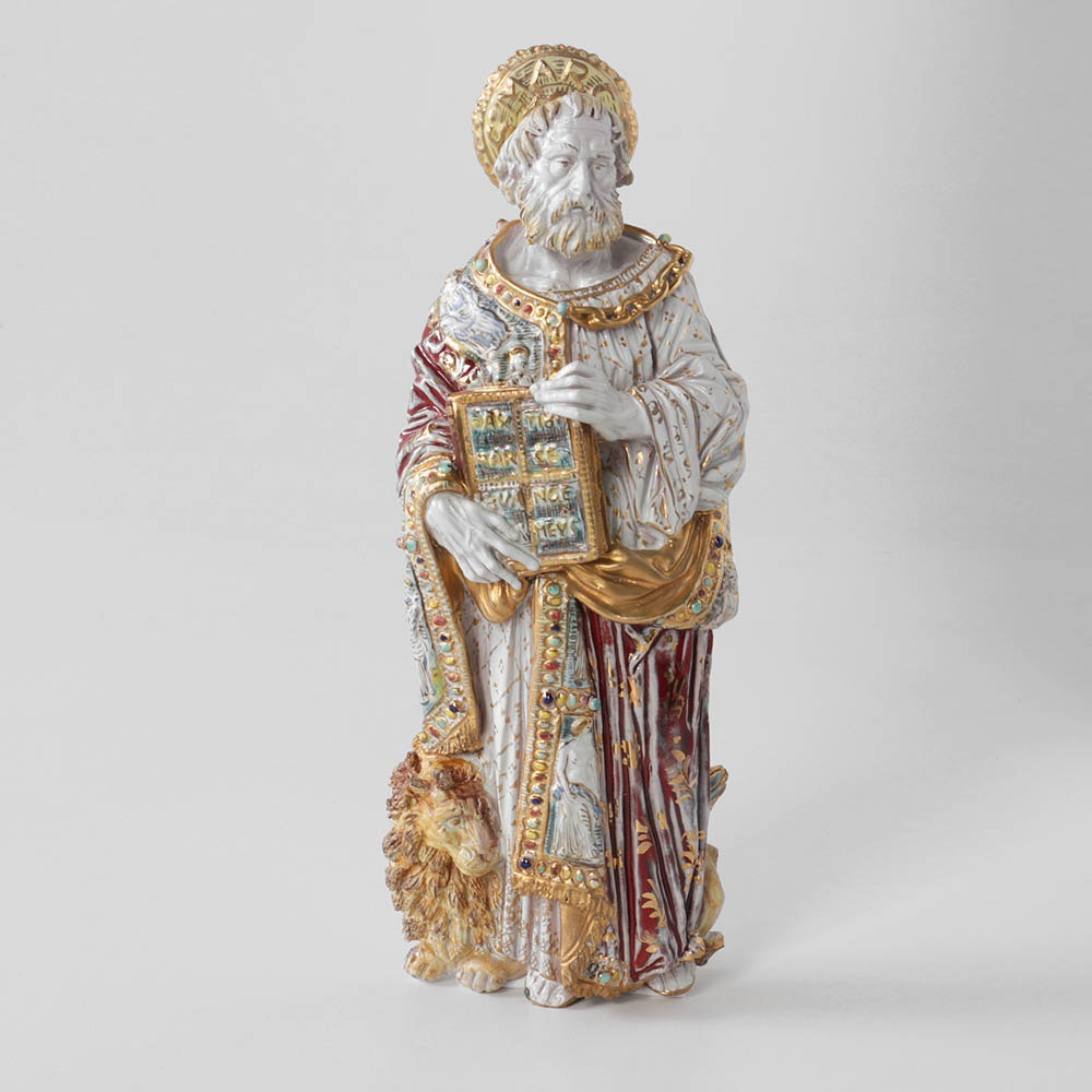 Eugenio Pattarino Hand-Painted St. Mark Wall-Hanging Sculpture