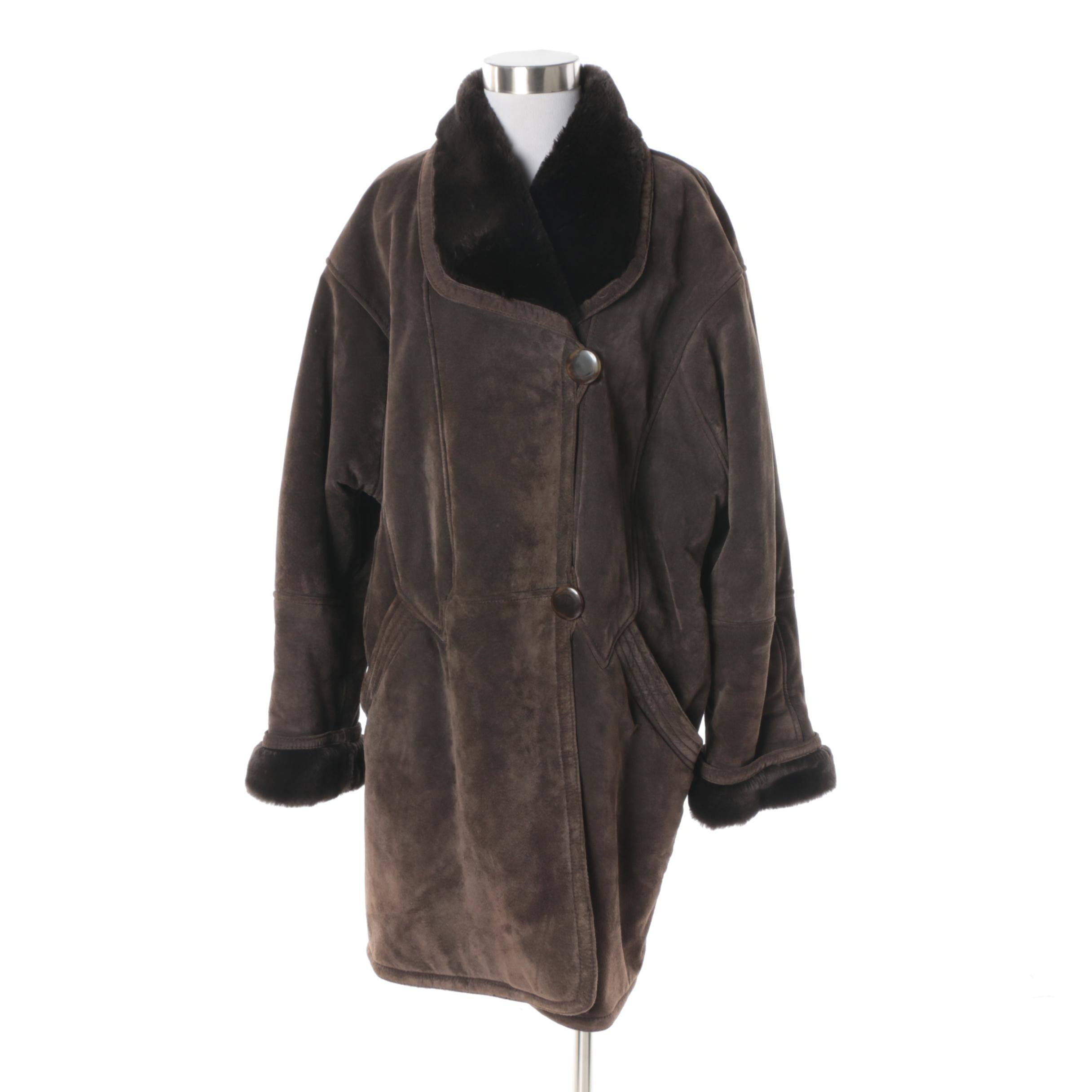 Women's Neiman Marcus Brown Suede Coat with Faux Fur Lining