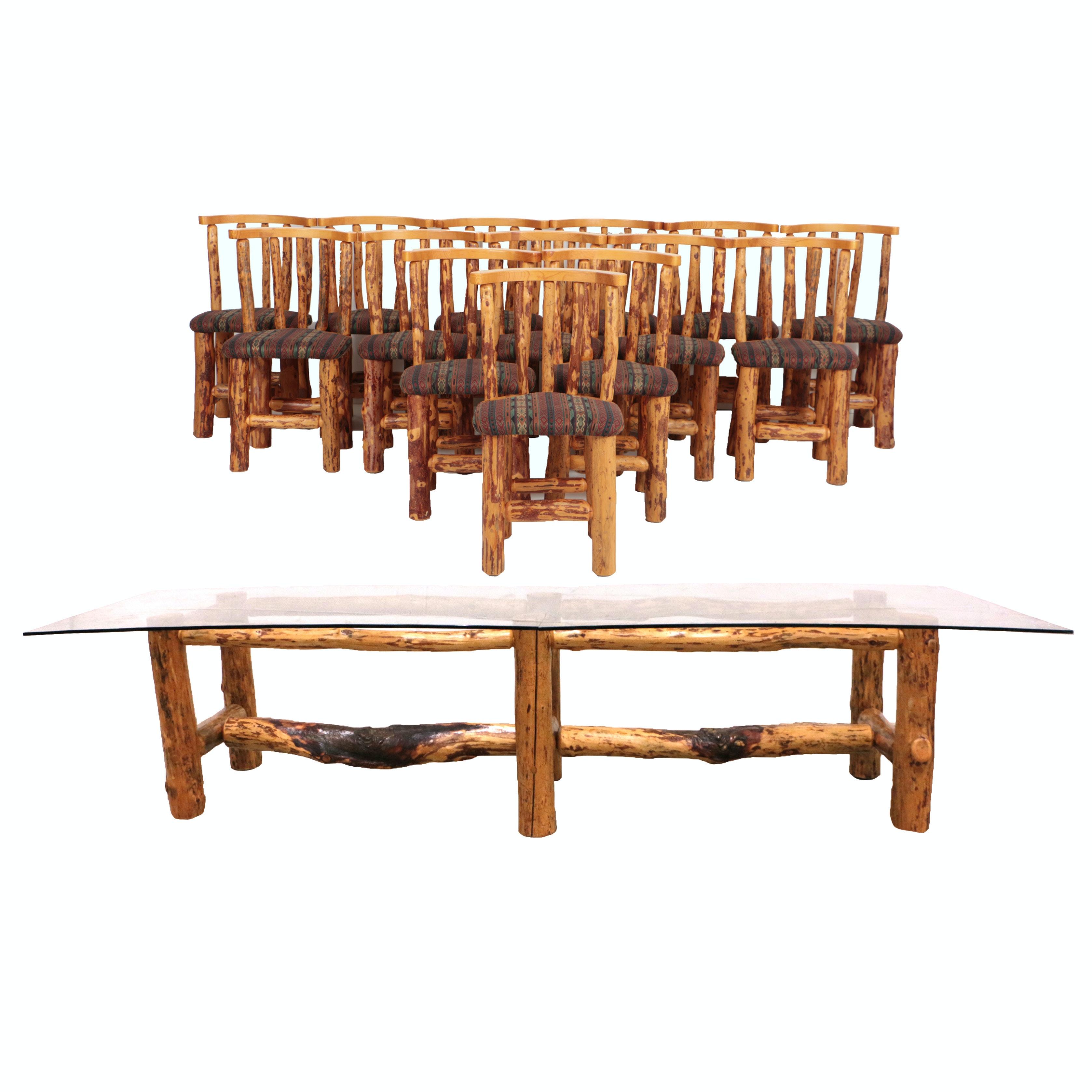 Ponderosa Pine Fifteen Piece Log Dining Set By Rodney Buchholz For Ru0026R  Ventures ...