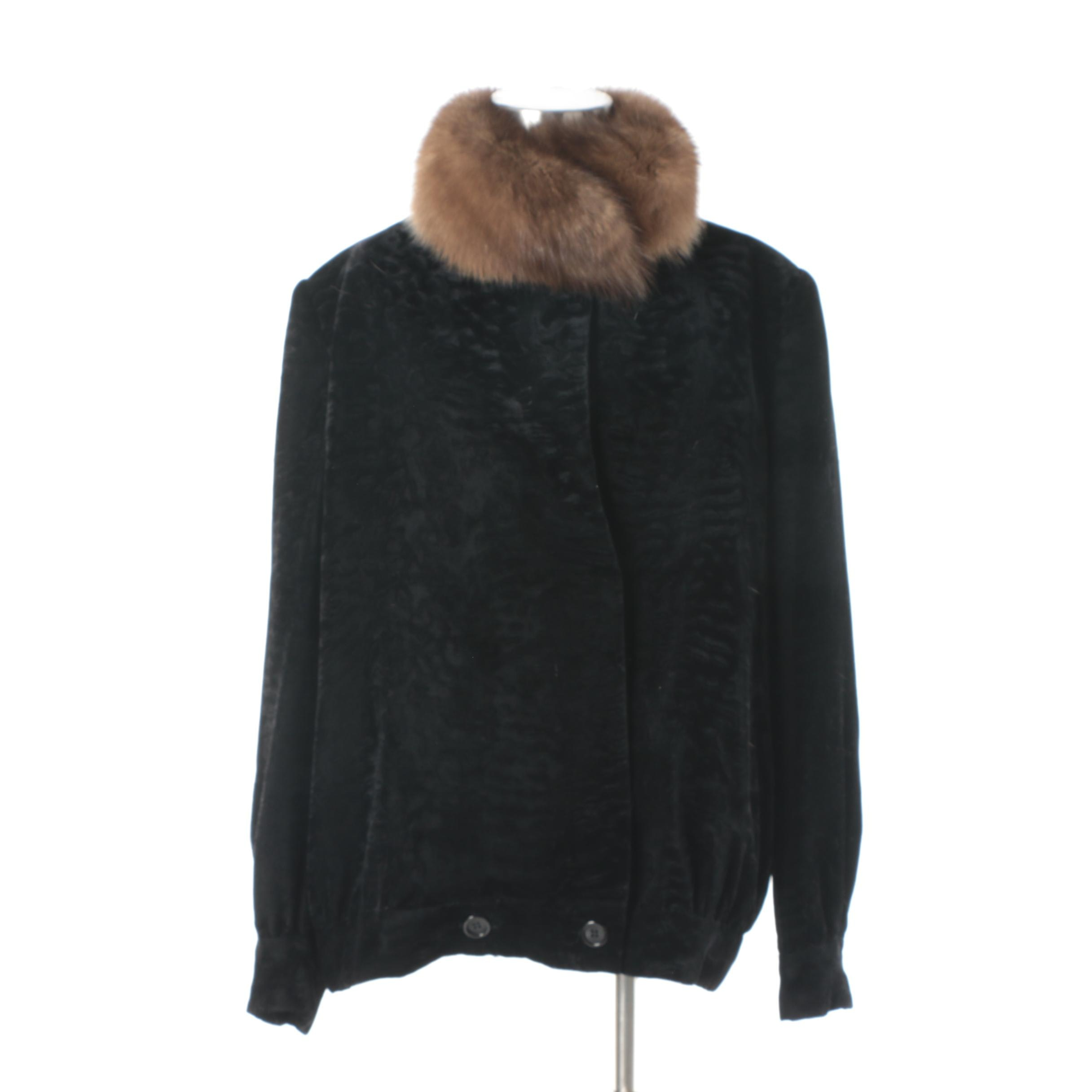 Bill Blass Black Velvet Jacket with Fox Fur Collar