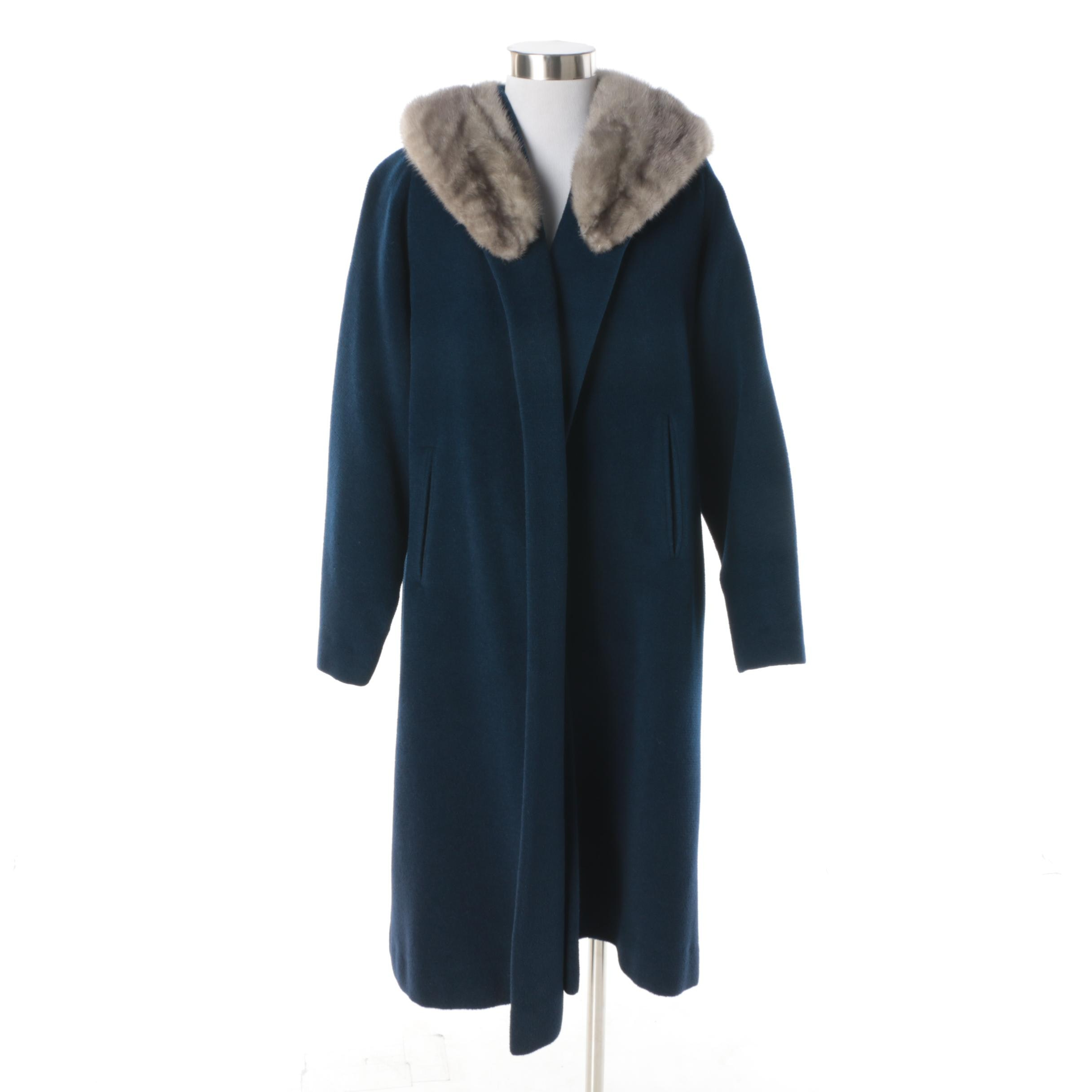 Vintage Hirsch Blue Wool Coat with Grey Mink Fur Collar