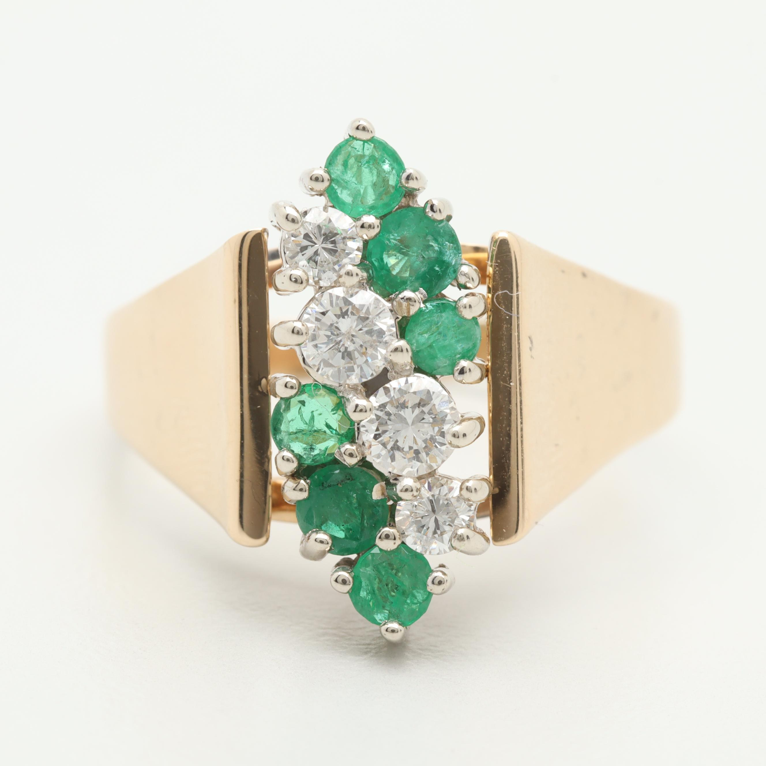 14K Yellow Gold Diamond and Emerald Ring with White Gold Accents