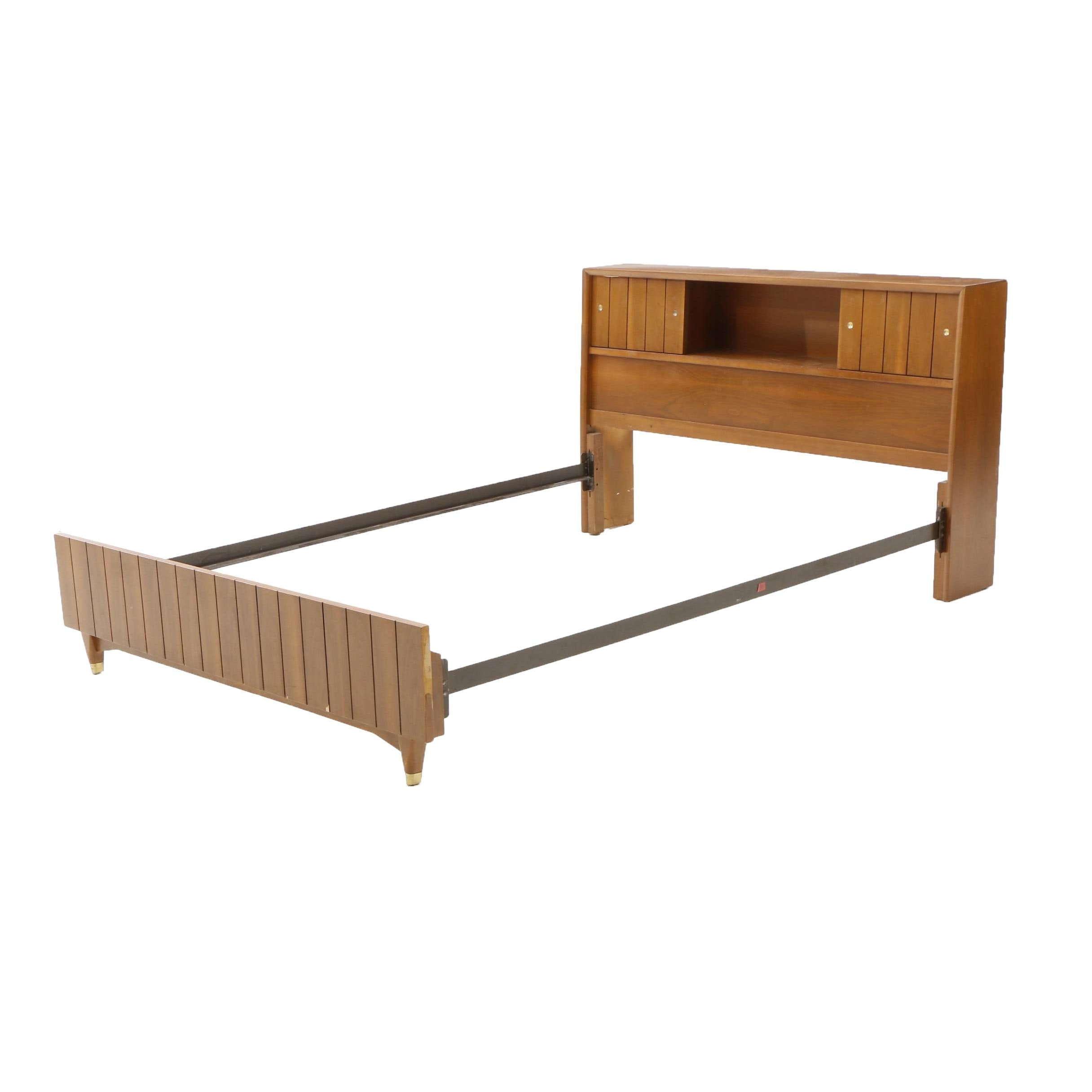 Mid Century Modern Walnut Full-Size Bed Frame by Kroehler
