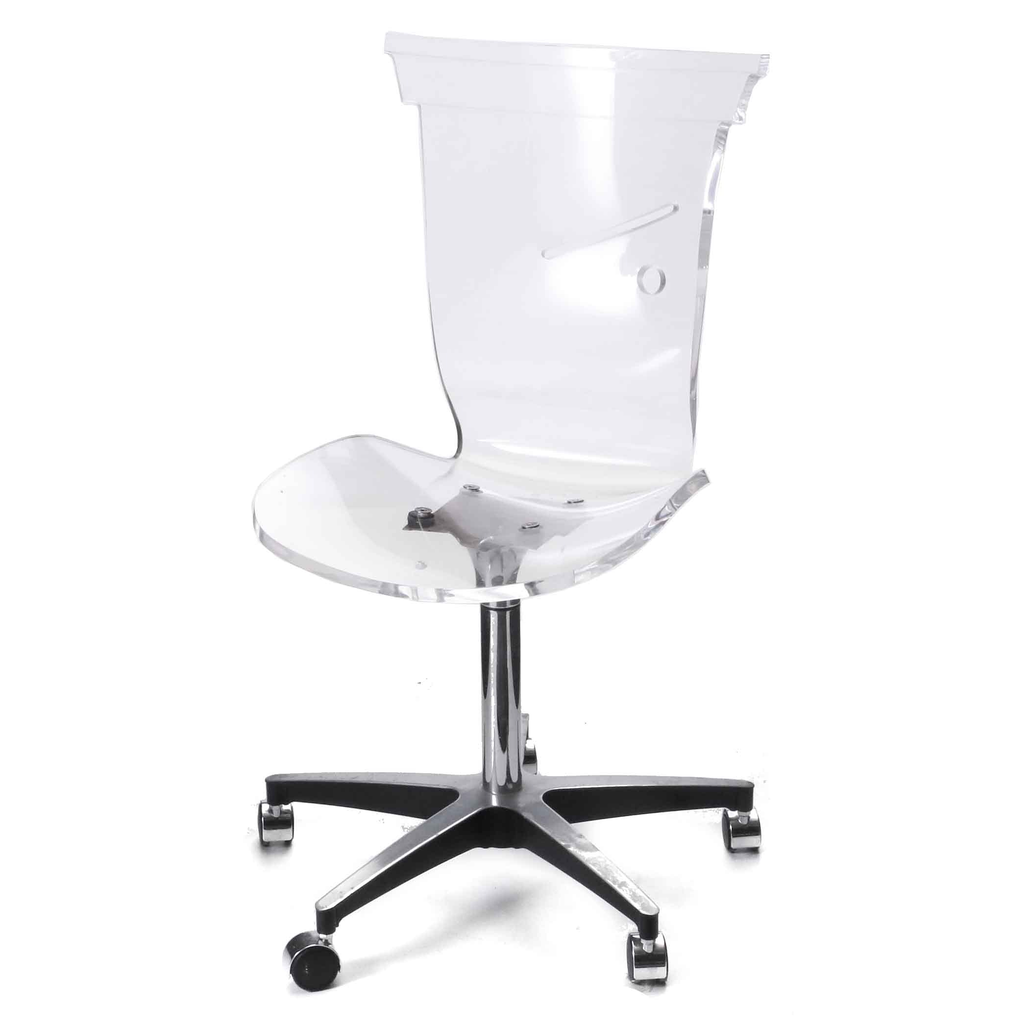 Acrylic office chairs Lucite Global Sources Molded Acrylic Office Chair On Fiveleg Base Ebth