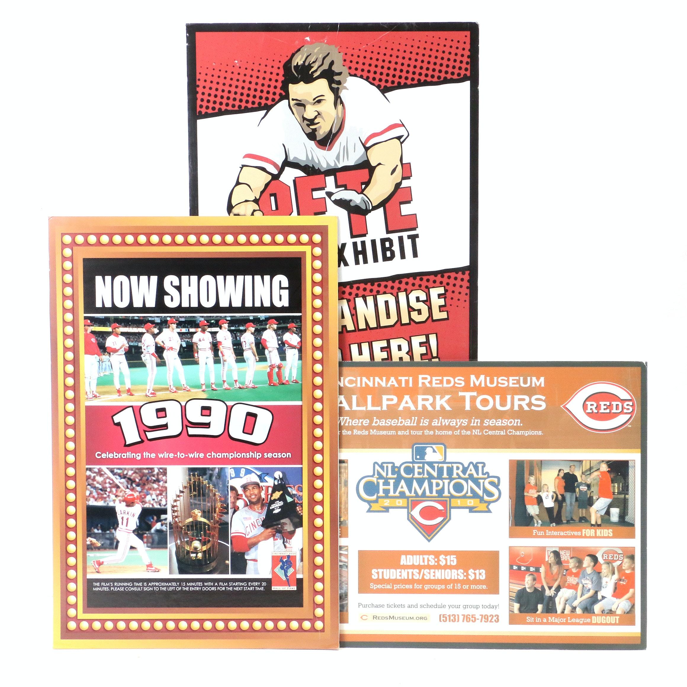 Three Cincinnati Reds Hall of Fame Exhibit Diplays