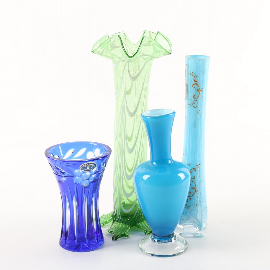 Bohemian Cobalt Blue Cut To Clear Crystal Vase And Blown Glass Vases