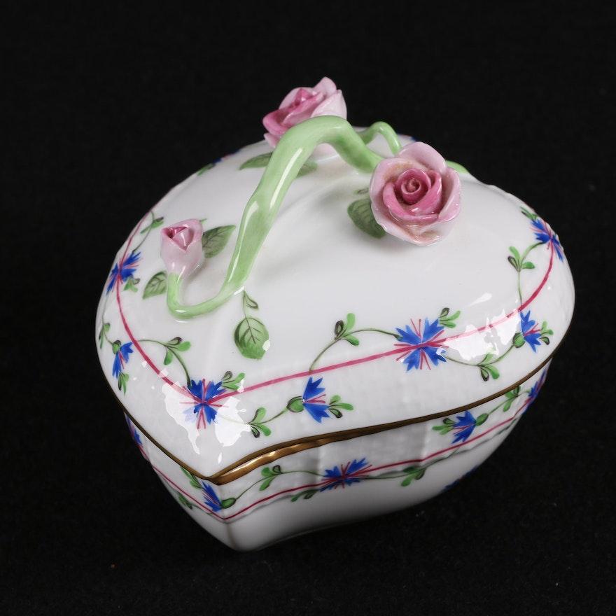 "Herend Kangaroo Hand Painted Porcelain Figurine In Pink: Herend Hand-Painted ""Blue Garland"" Porcelain Trinket Box"