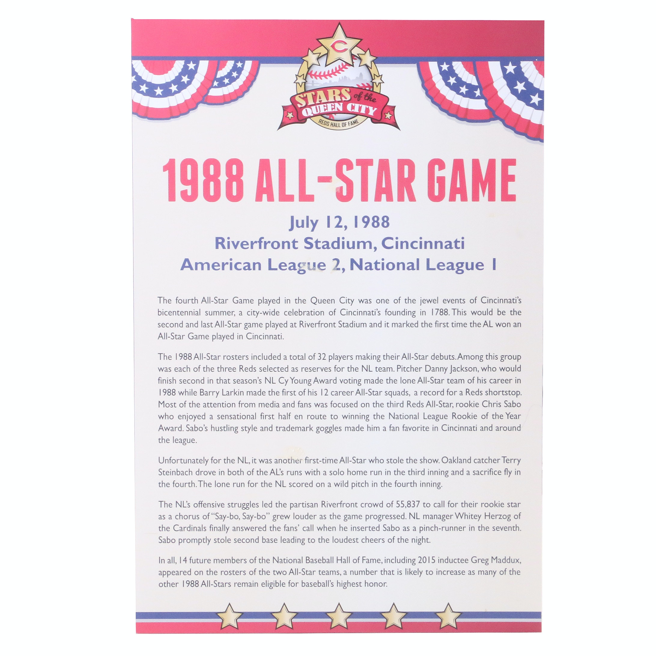 Cincinnati Reds Hall of Fame 1988 All-Star Sign COA