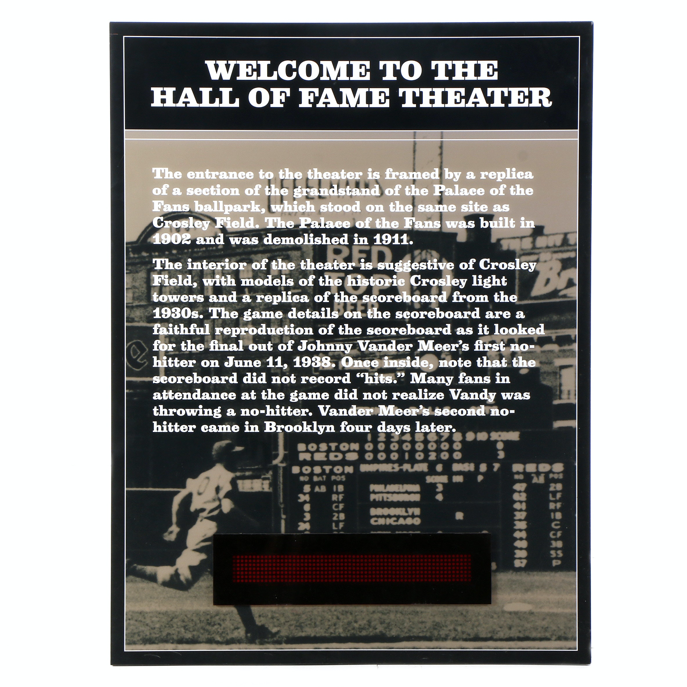 "Cincinnati Reds Hall of Fame ""Welcome Light-Up Theatre Sign"" Display COA"