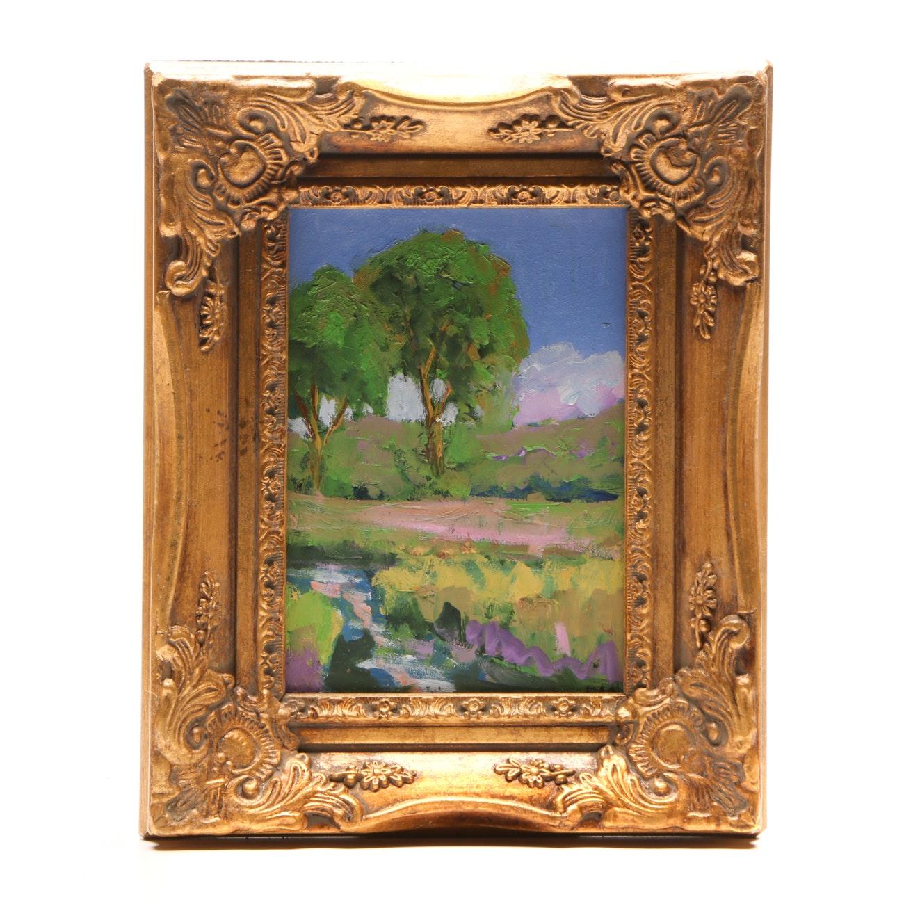 Ken Burnside Impressionist Oil Painting on Masonite of Verdant Landscape