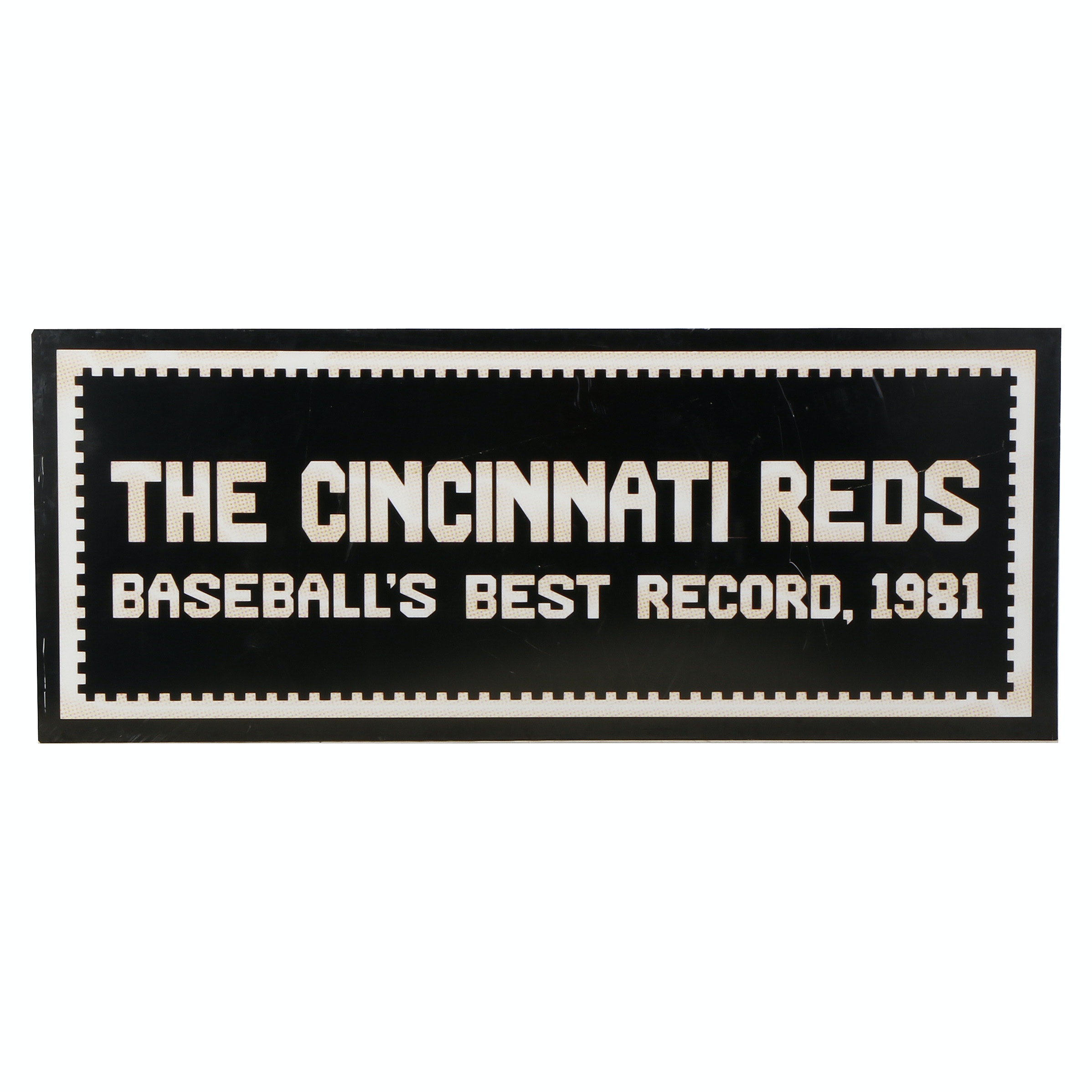 """1981 """"Best Record In Baseball"""" Scoreboard Exhibit From Reds Hall Of Fame COA"""