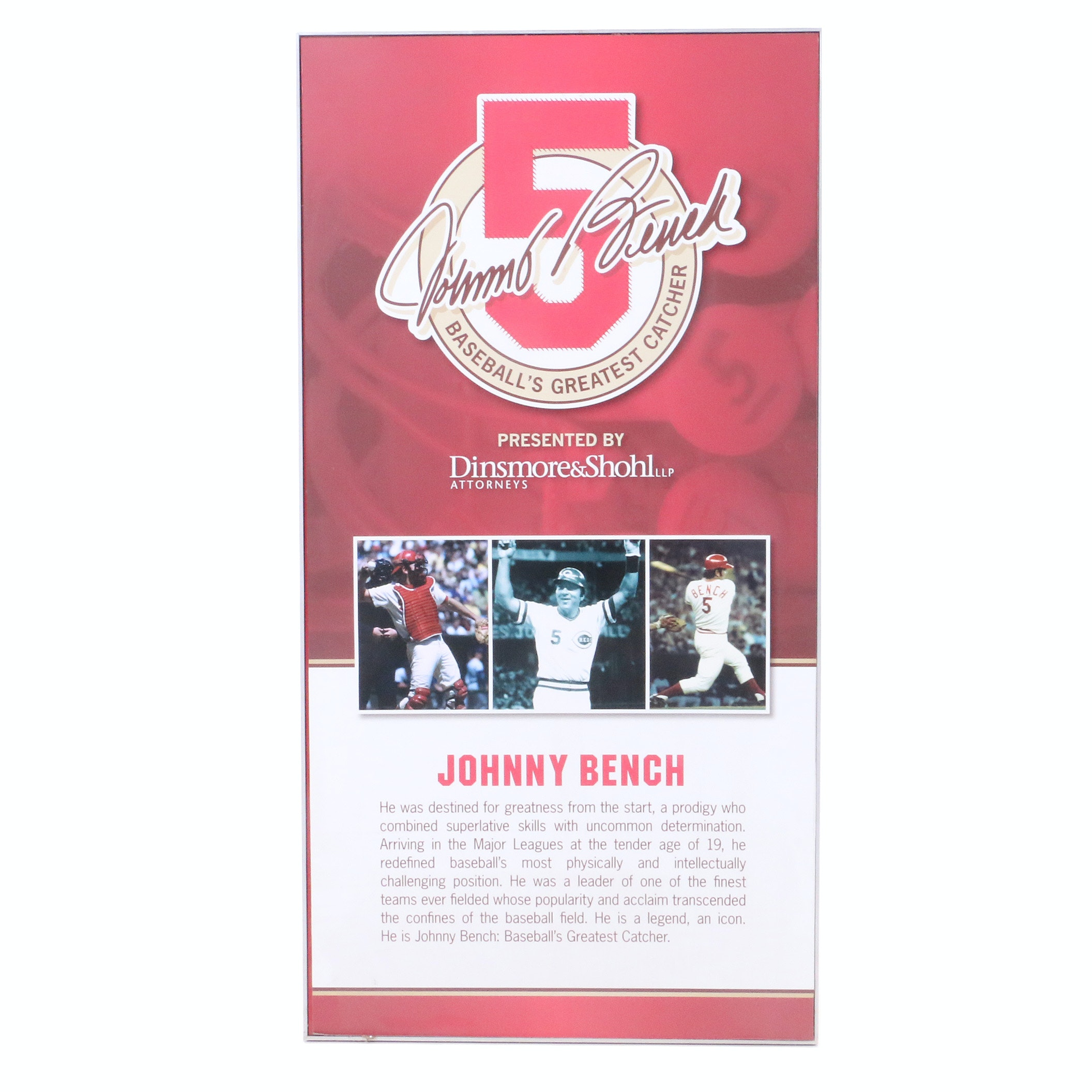 Cincinnati Reds Hall of Fame and Museum Johnny Bench Exhibit Sign COA