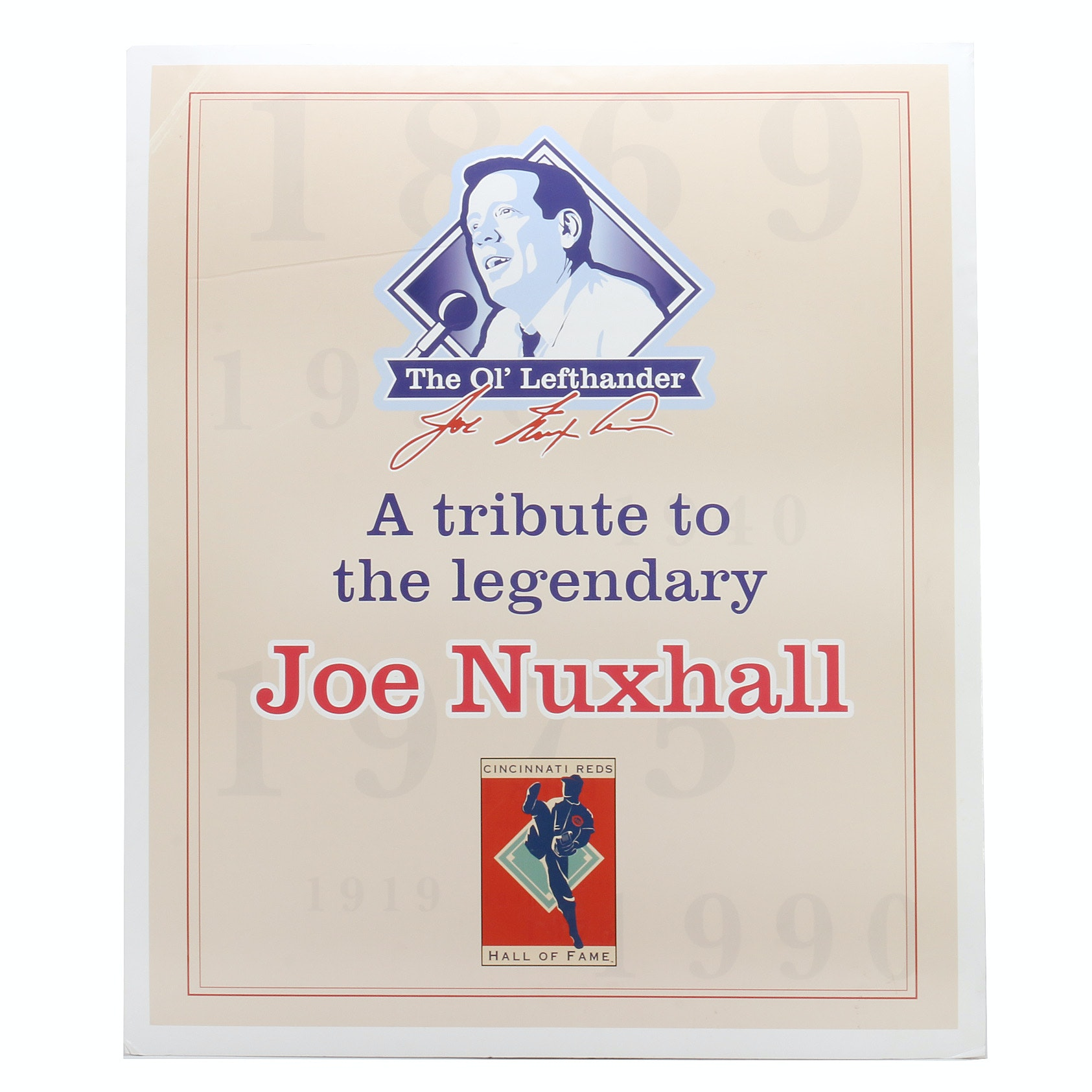 "Joe Nuxhall ""The Ol' Lefthander"" Tribute Hall of Fame Exhibit Sign COA"