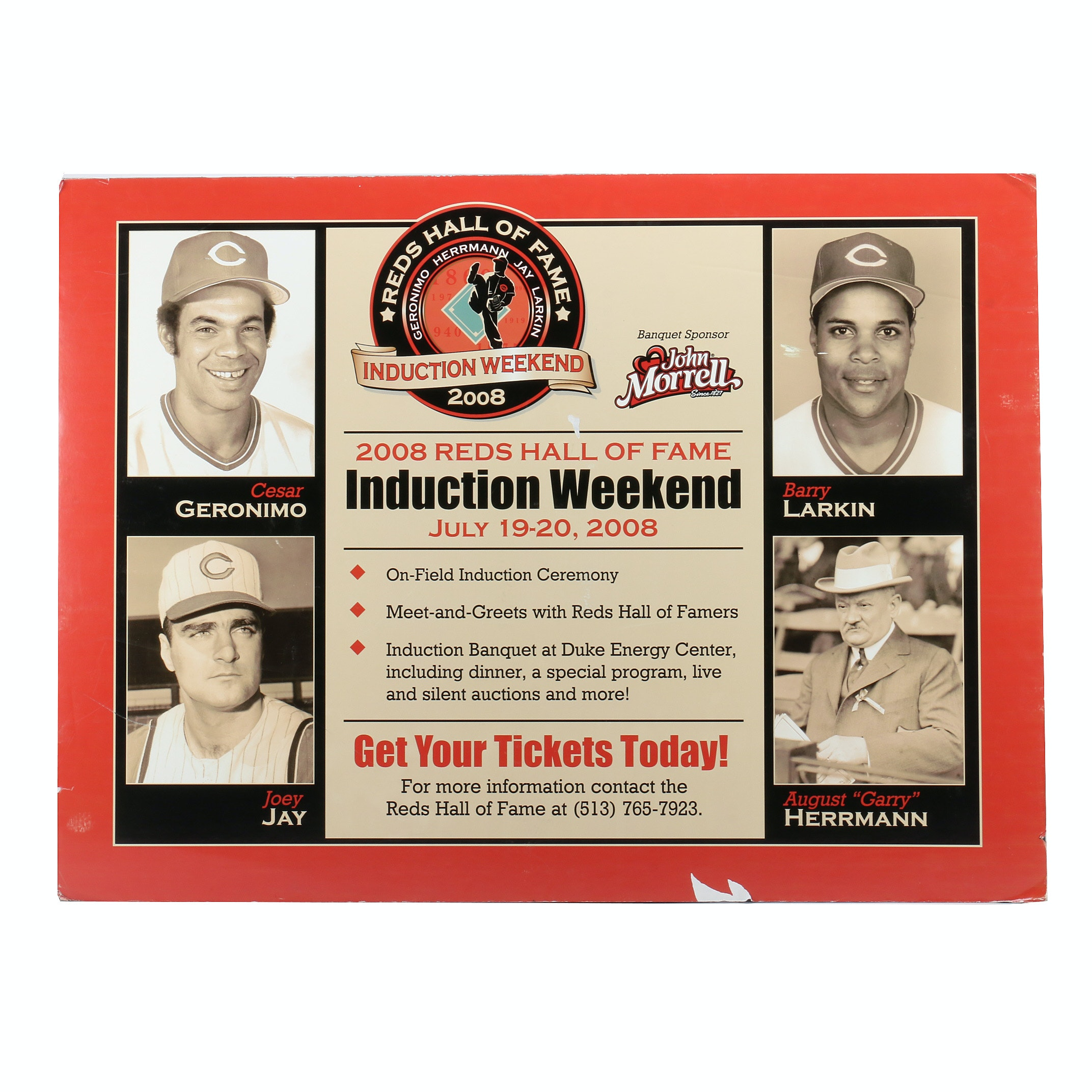 2008 Reds Hall Of Fame Induction Reds Display COA
