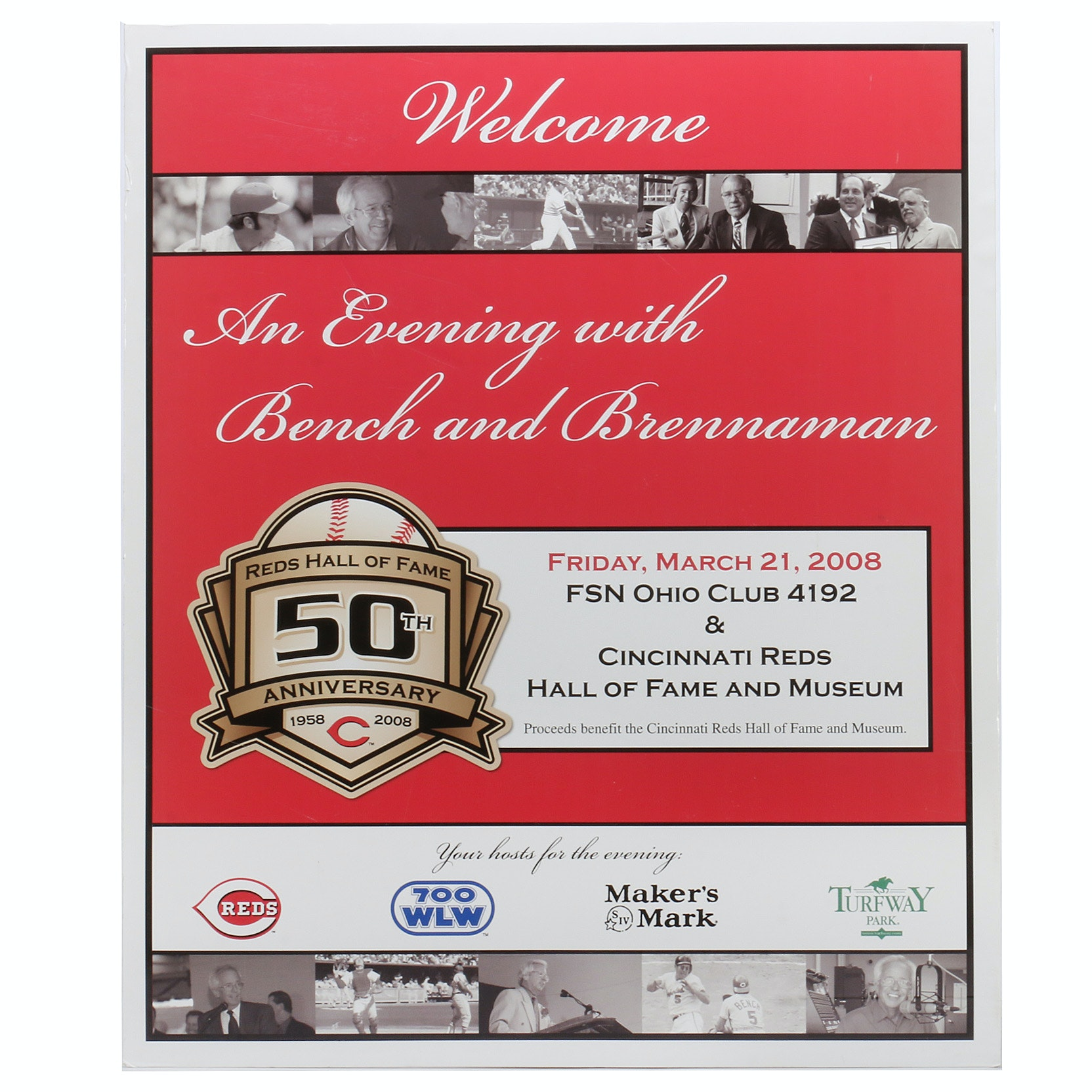 "2008 Reds Hall of Fame ""50th Anniversary"" Exhibit Sign COA"