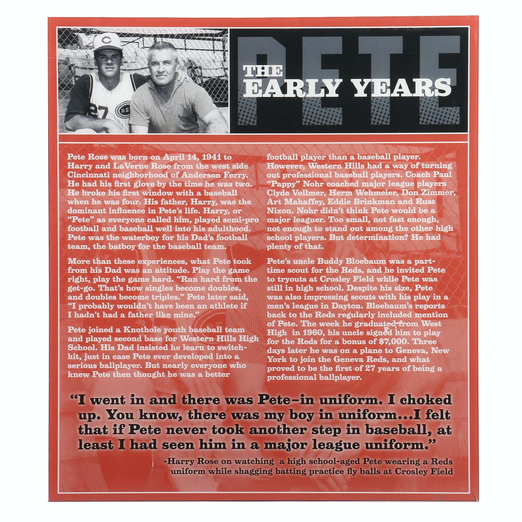 """Pete Rose """"The Early Years"""" Hall of Fame and Museum Display"""
