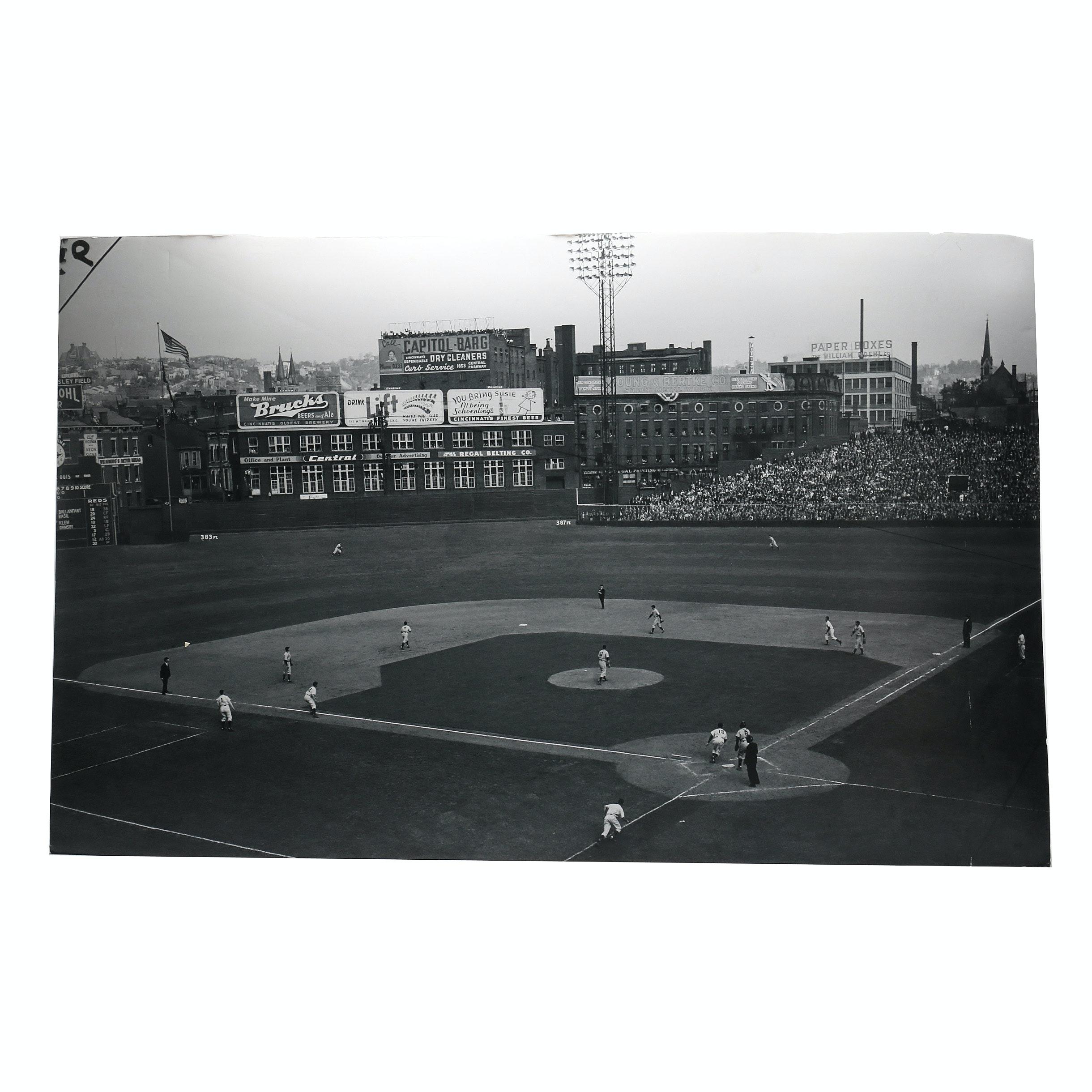 Large 1940 Cincinnati Vs. Detroit World Series Hall of Fame Exhibit Display COA
