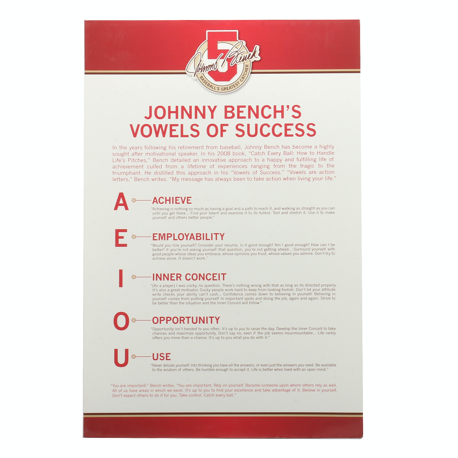 "Johnny Bench's ""Vowels Of Success"" Hall of Fame Advertising Sign COA"