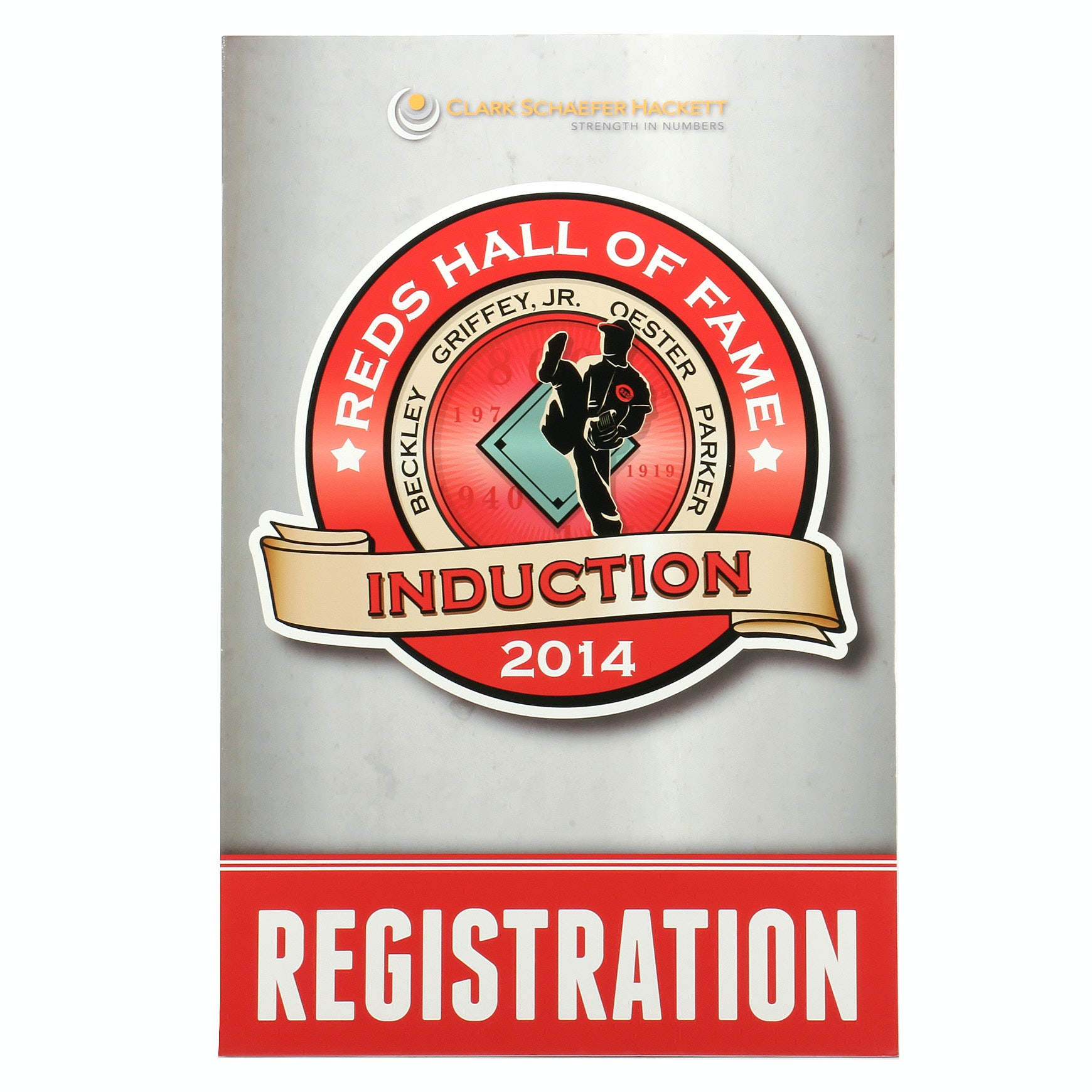 "2014 Reds Hall of Fame Induction ""Registration"" Sign COA"
