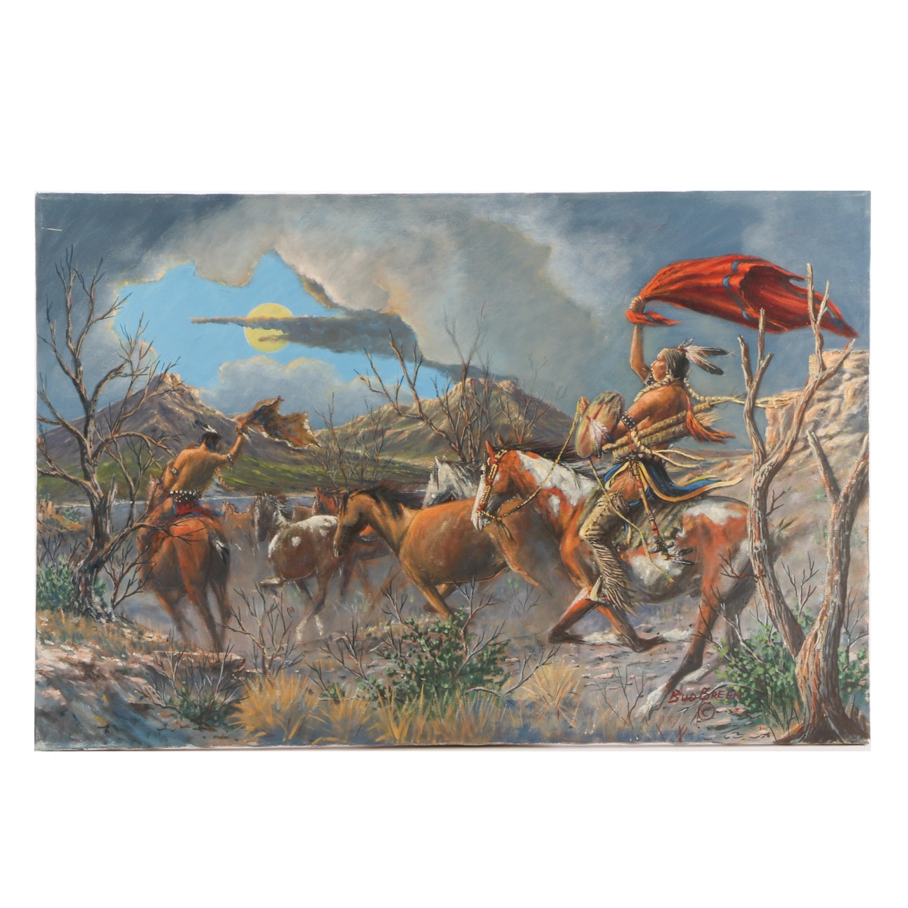 Bud Breen Original Oil Native American Genre Painting on Canvas