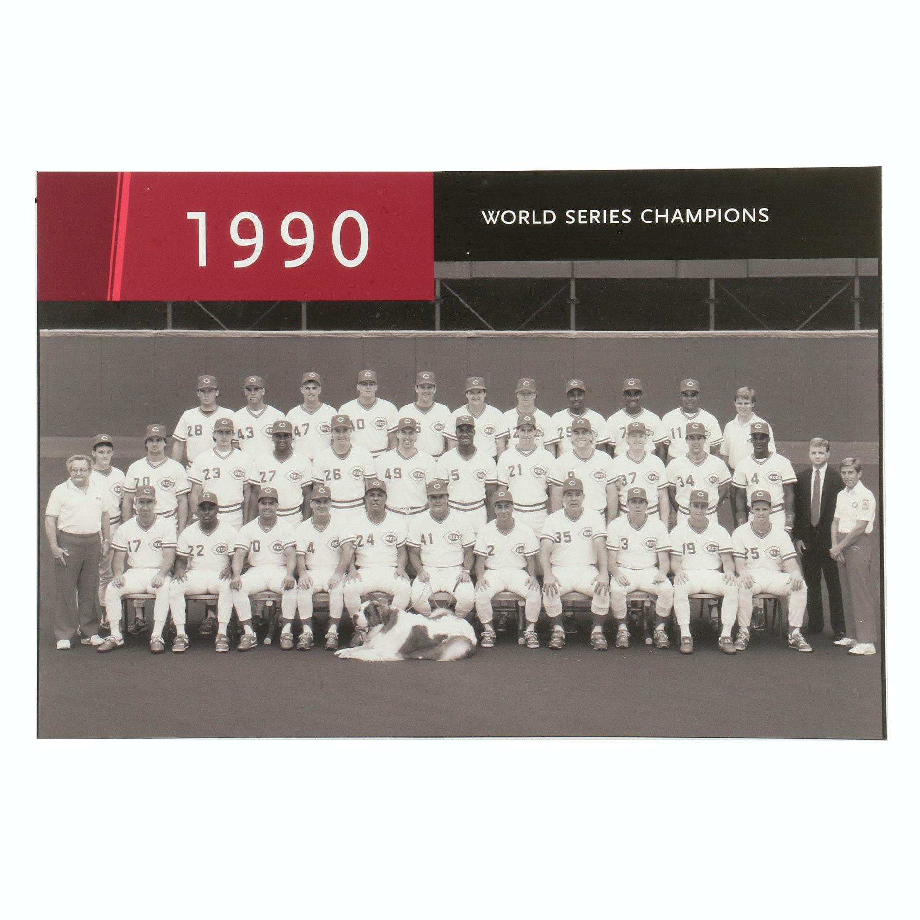 "1990 Cincinnati Reds ""World Champions"" Display Print From Hall of Fame COA"