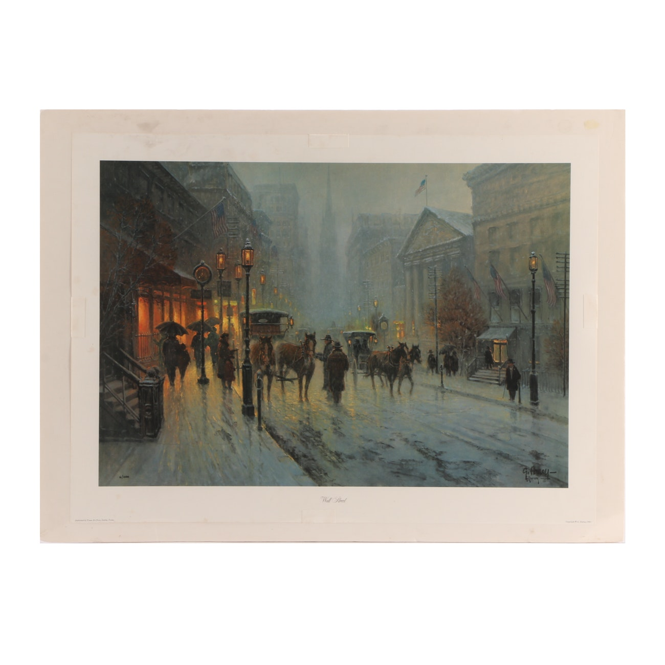 "G. Harvey Signed 1981 Limited Edition Offset Lithograph ""Wall Street"""