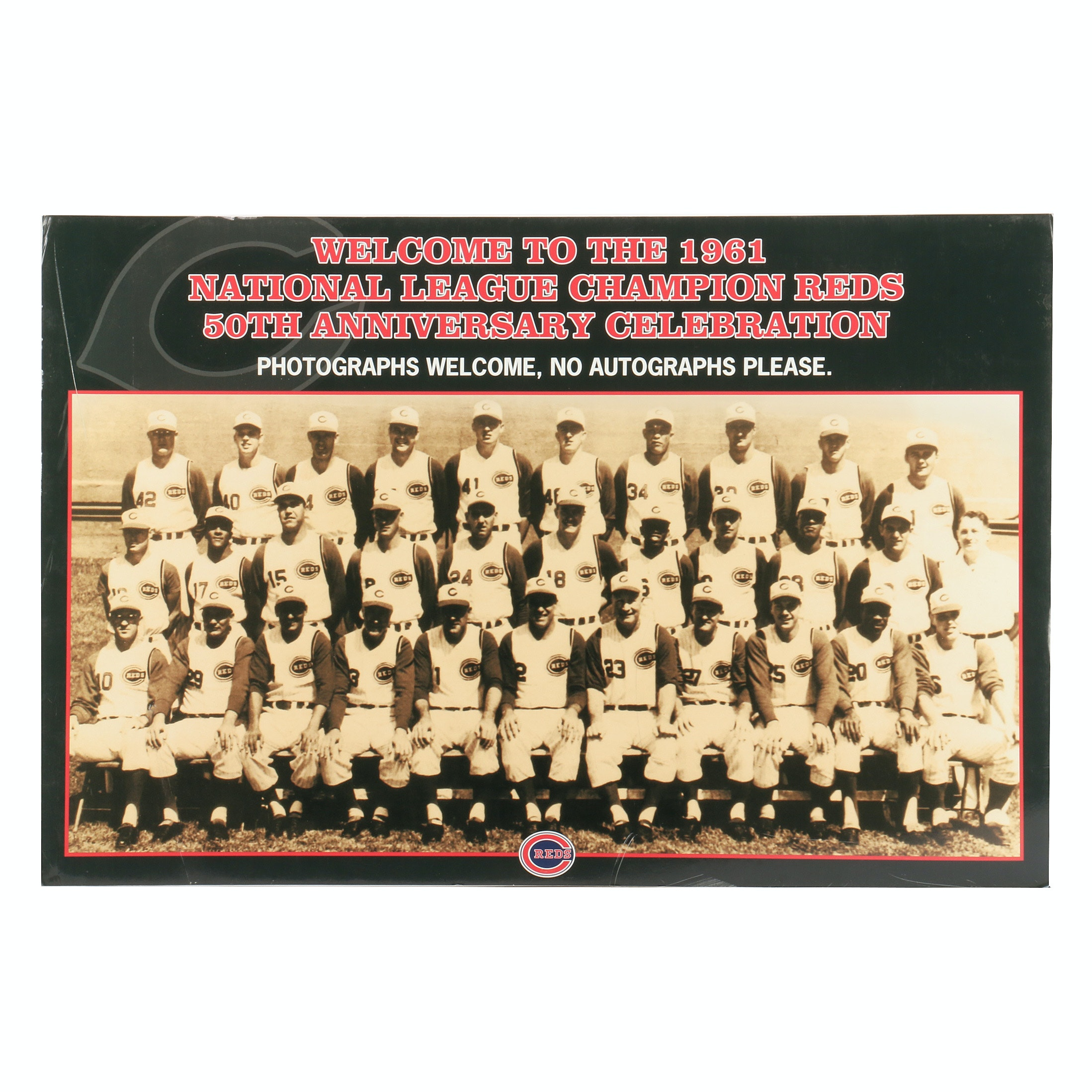 "1961 Cincinnati Reds ""50th Anniversary Celebration"" Exhibit Sign COA"