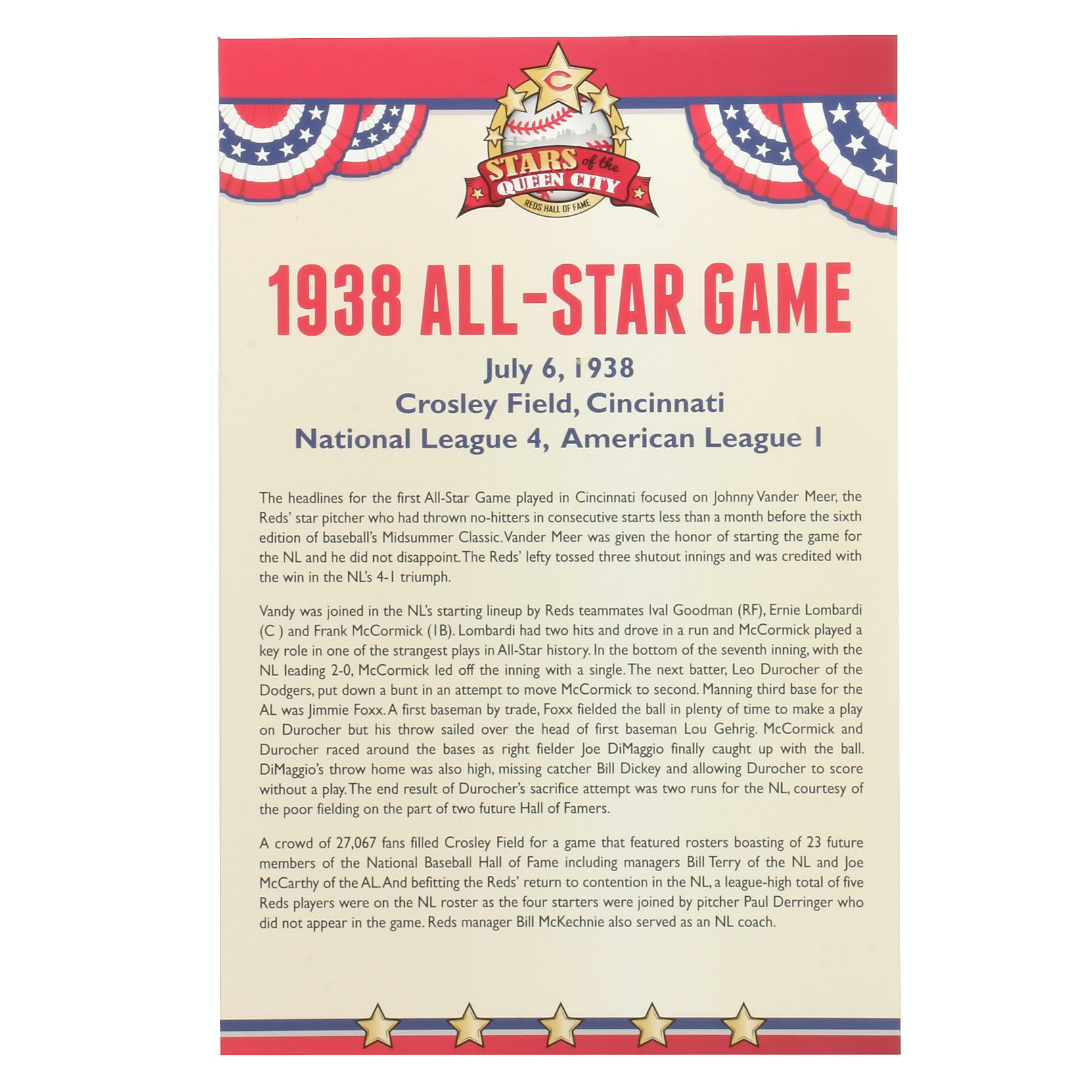 Cincinnati Reds Hall of Fame 1938 All-Star Exhibit Sign COA