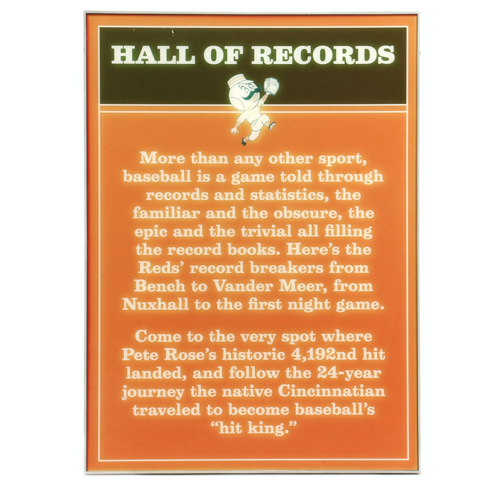"Cincinnati Reds ""Hall of Records"" Exhibit Sign COA"