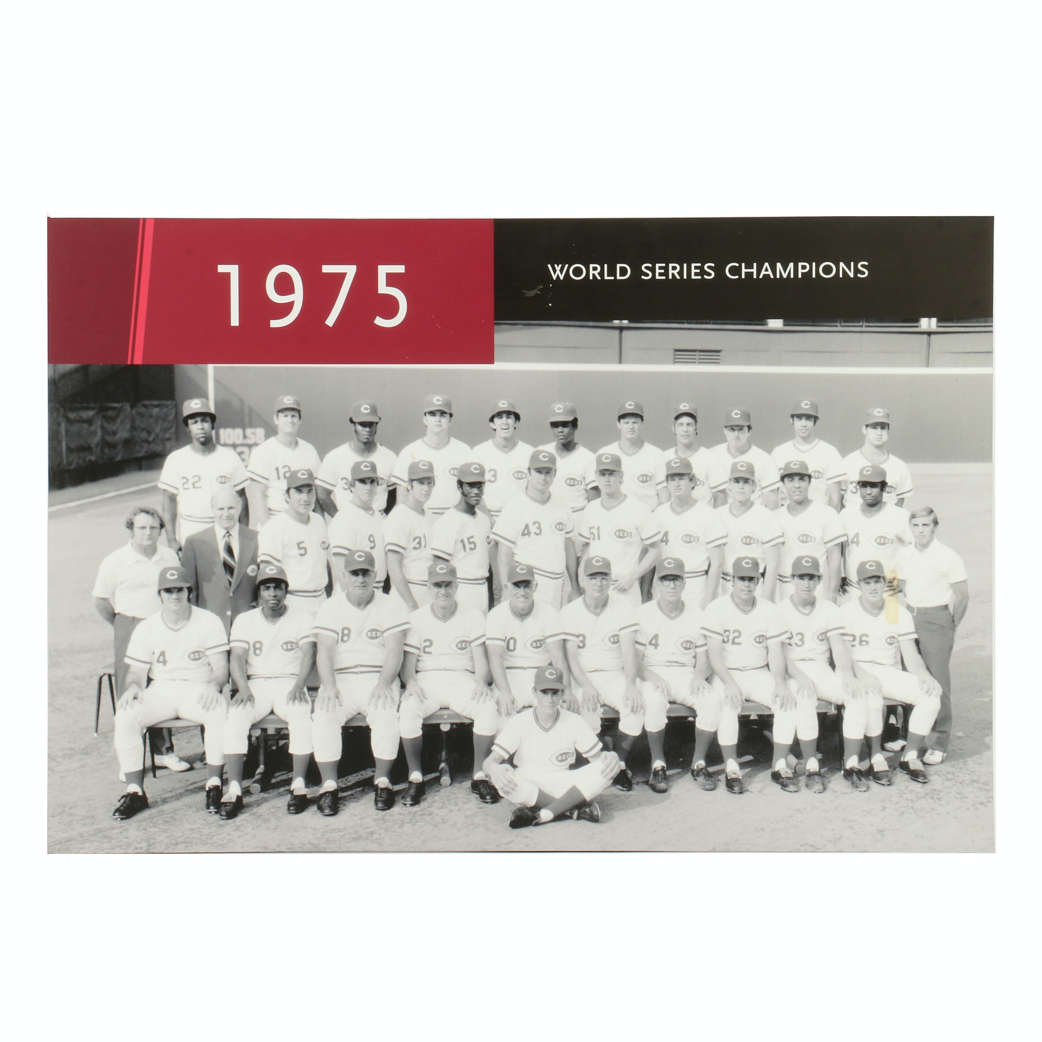 "1975 Cincinnati Reds ""World Series Champions"" Team Display From Hall of Fame COA"
