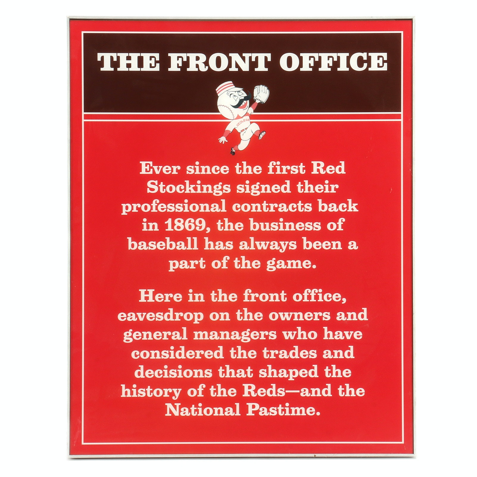 "Cincinnati Reds Hall of Fame and Museum ""The Front Office"" Sign COA"