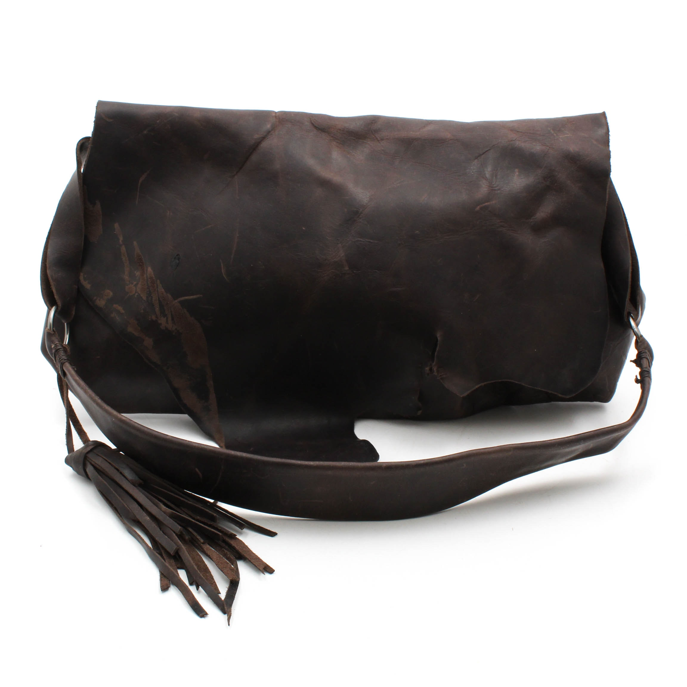 Dark Brown Leather Satchel from Leather Feather Stone