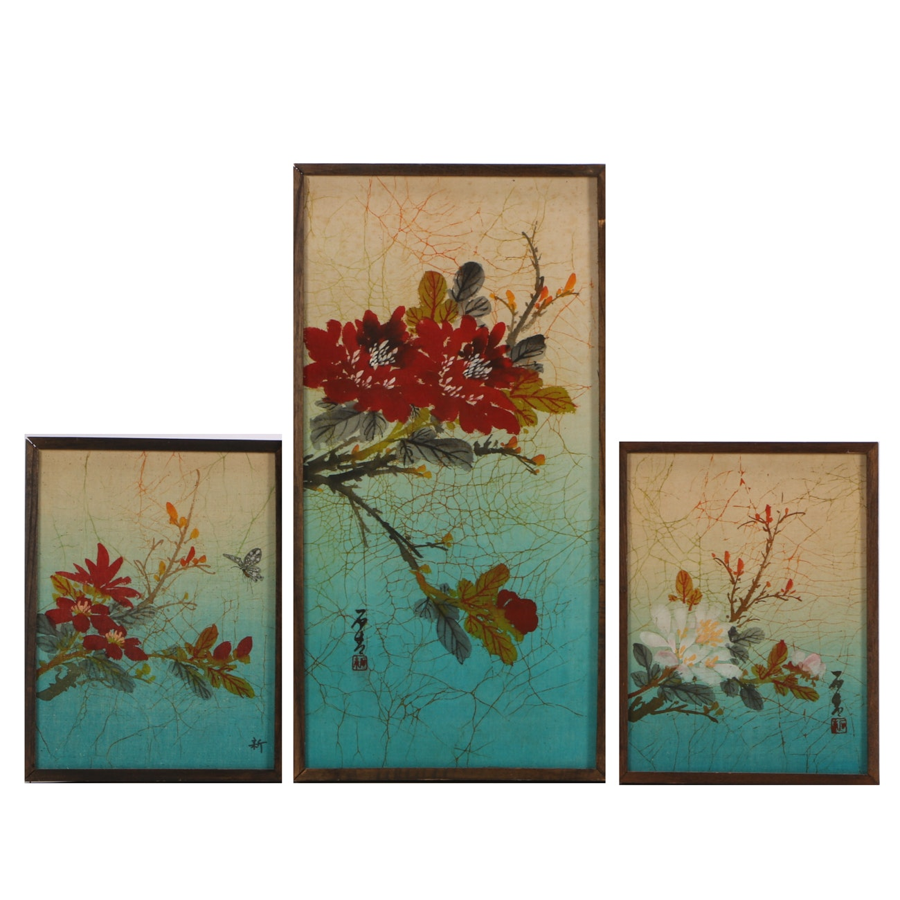 Chinese Hand-painted Motifs on Batik Fabric Triptych