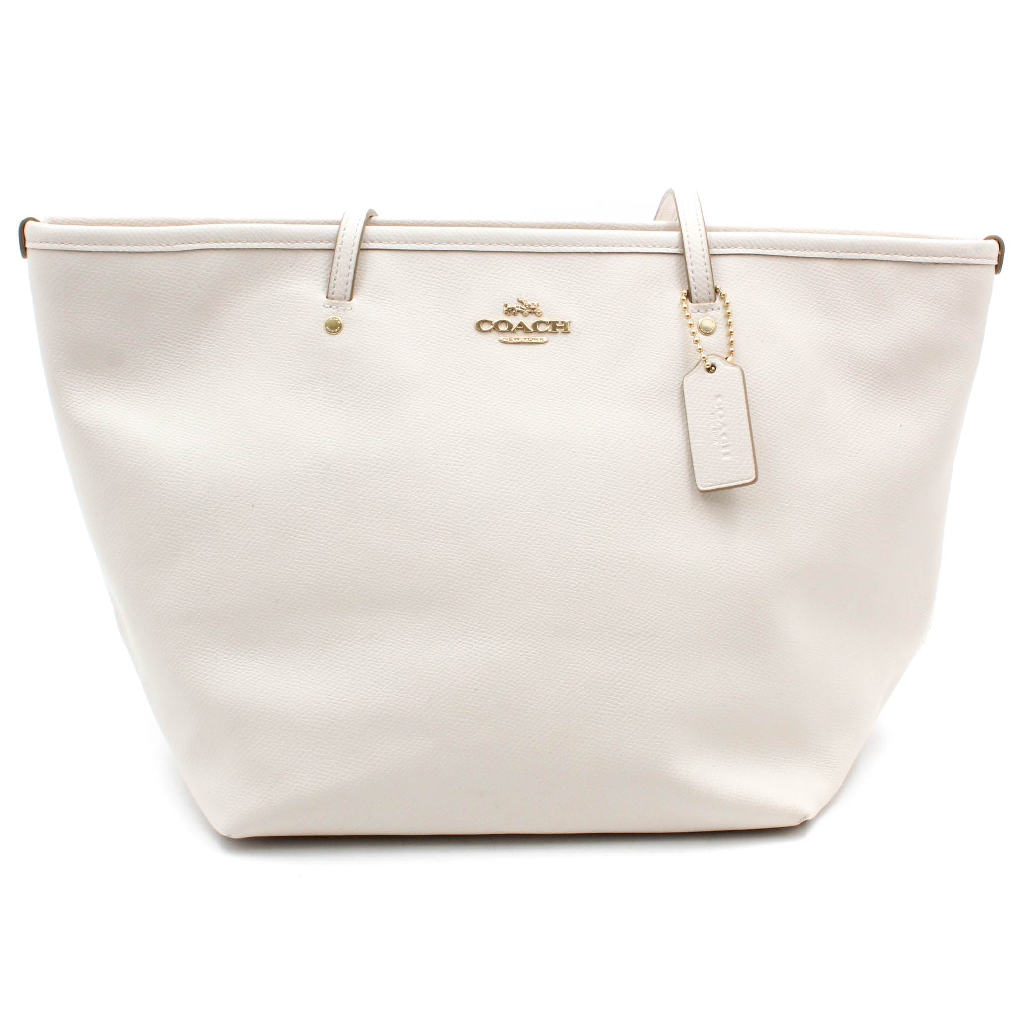 Coach Street Zip Tote White Leather Shoulder Bag