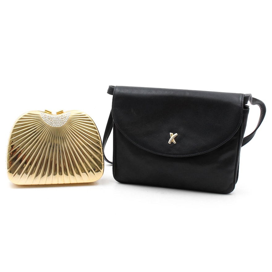 Vintage Paloma Picasso Black Leather Purse And Carla Marchi Evening Clutch