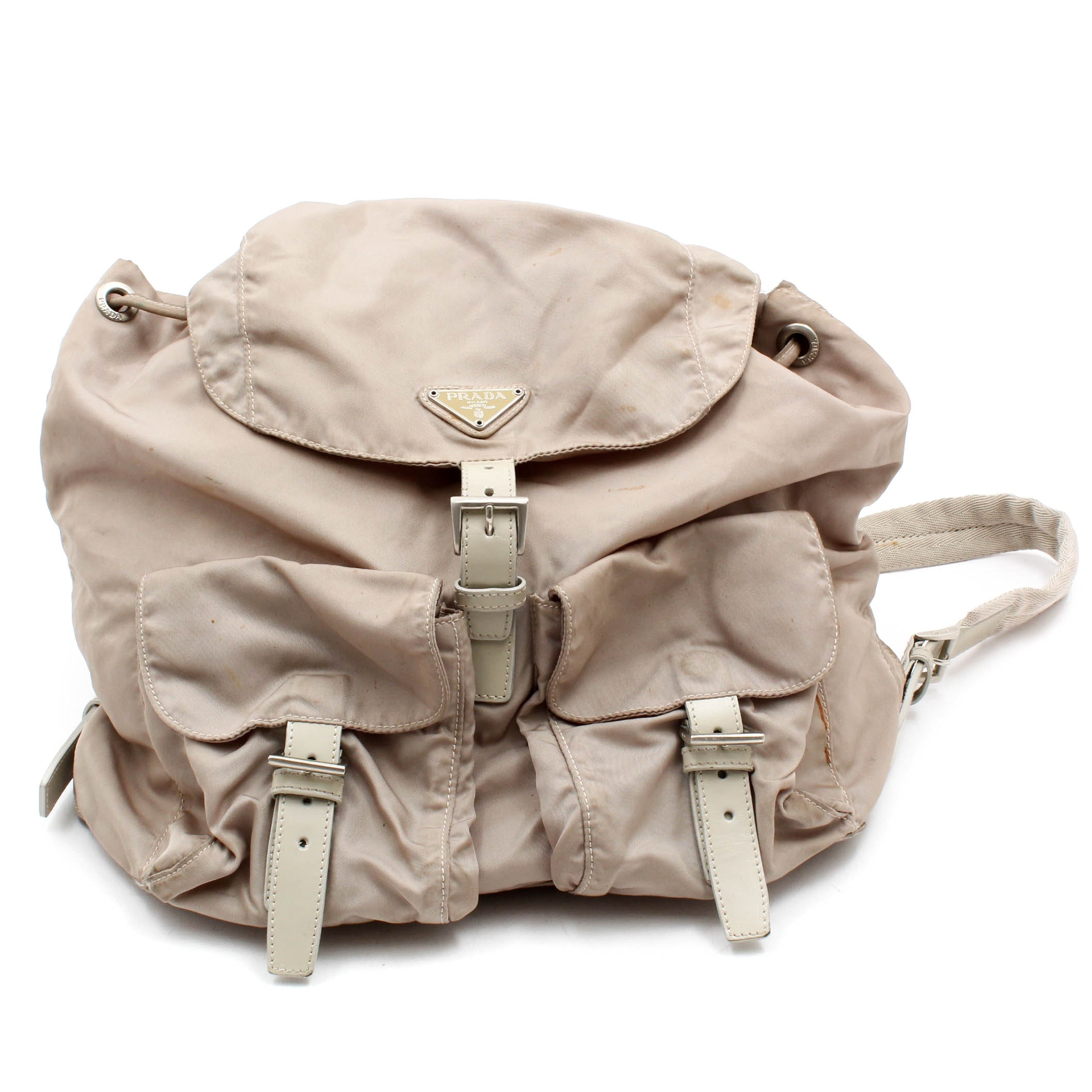 Prada Beige Nylon and Leather Backpack