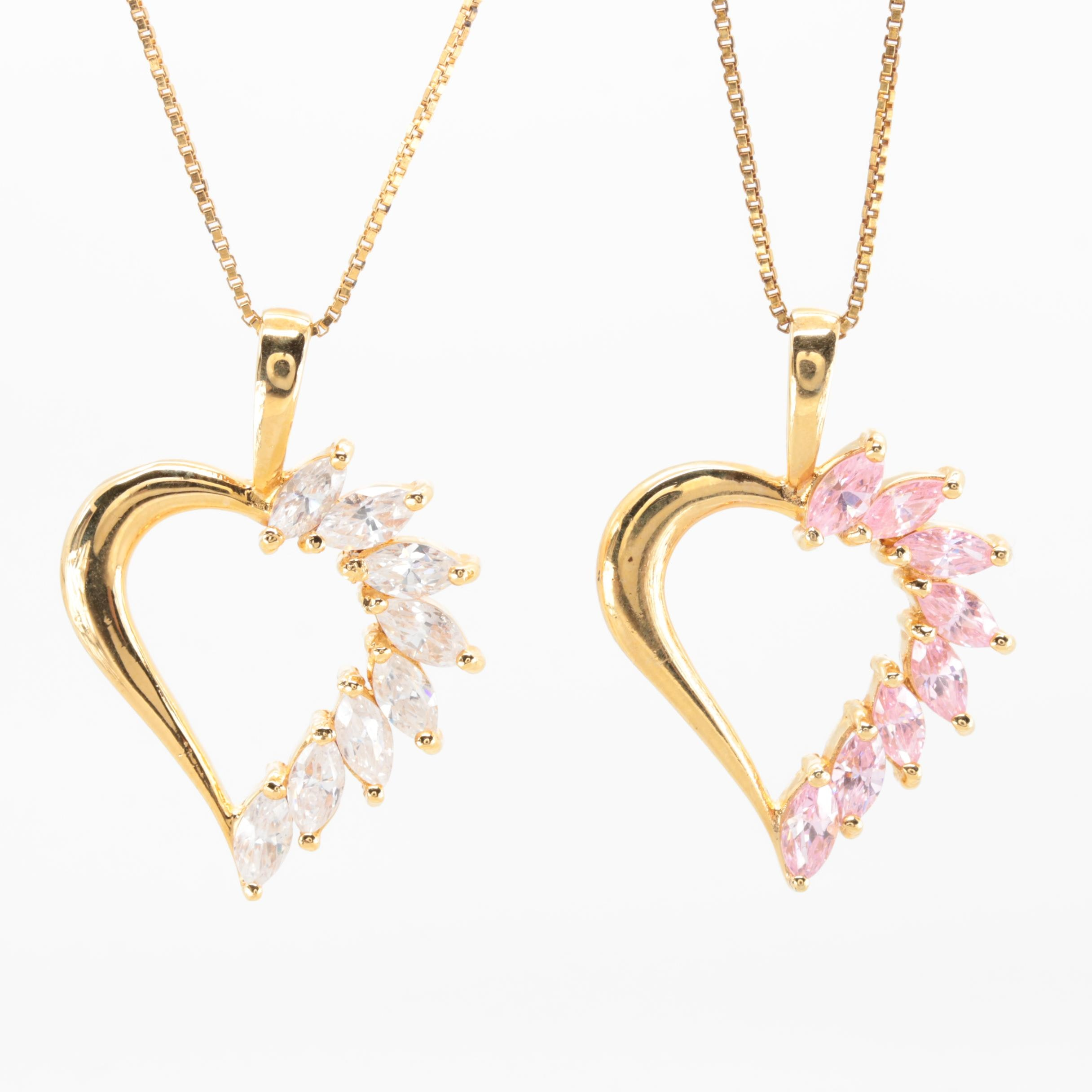 Gold Wash on Sterling Silver Cubic Zirconia Open Heart Necklace Selection