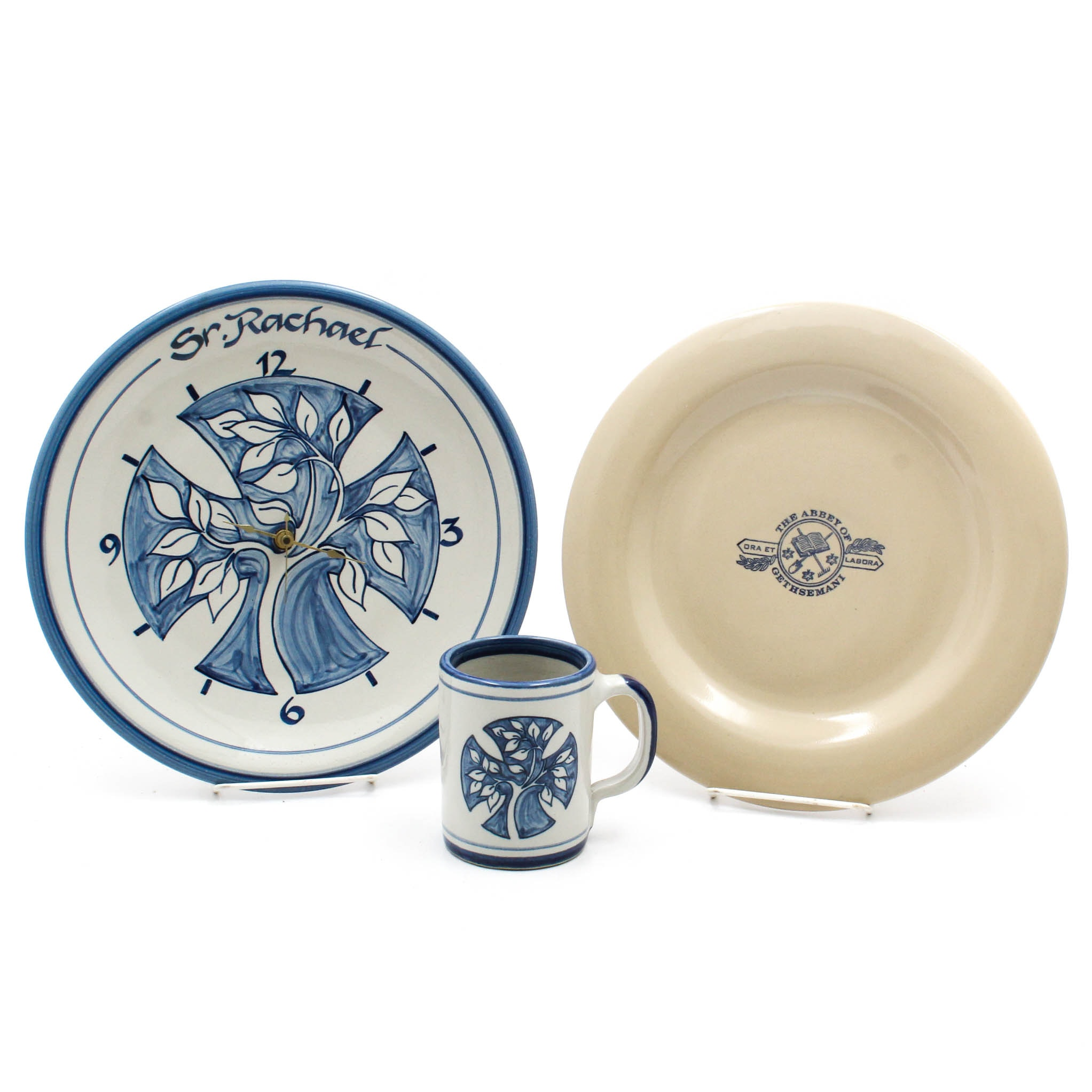 Clock, Dinner Plate, and Mug from the Abbey of Gethsemani