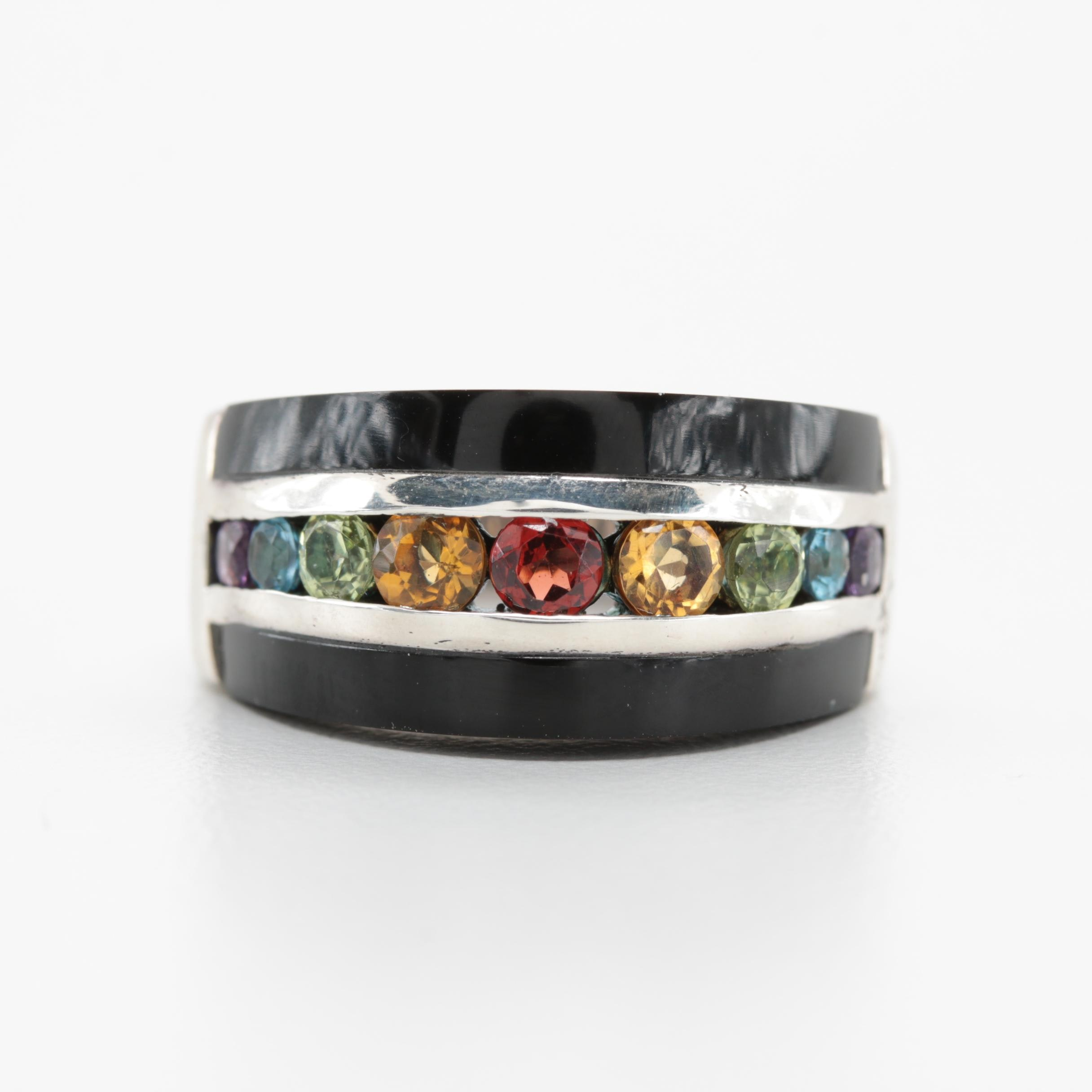 Sterling Silver Multi-Gemstone Rainbow Band