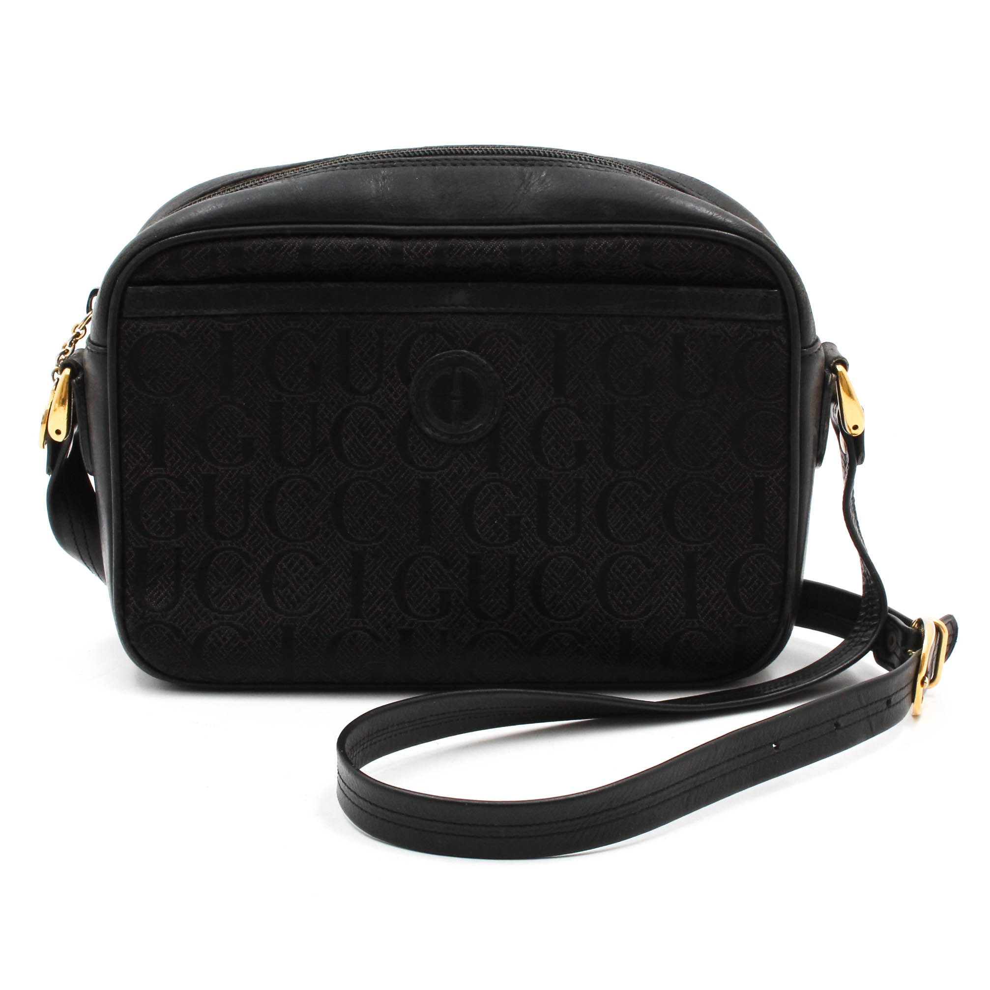 Vintage Gucci Black Signature Monogram Canvas and Leather Shoulder Bag