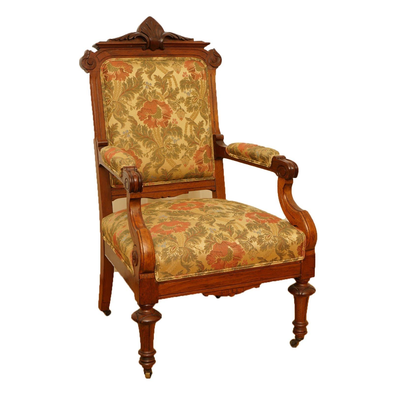 Vintage Eastlake Style Upholstered Armchair