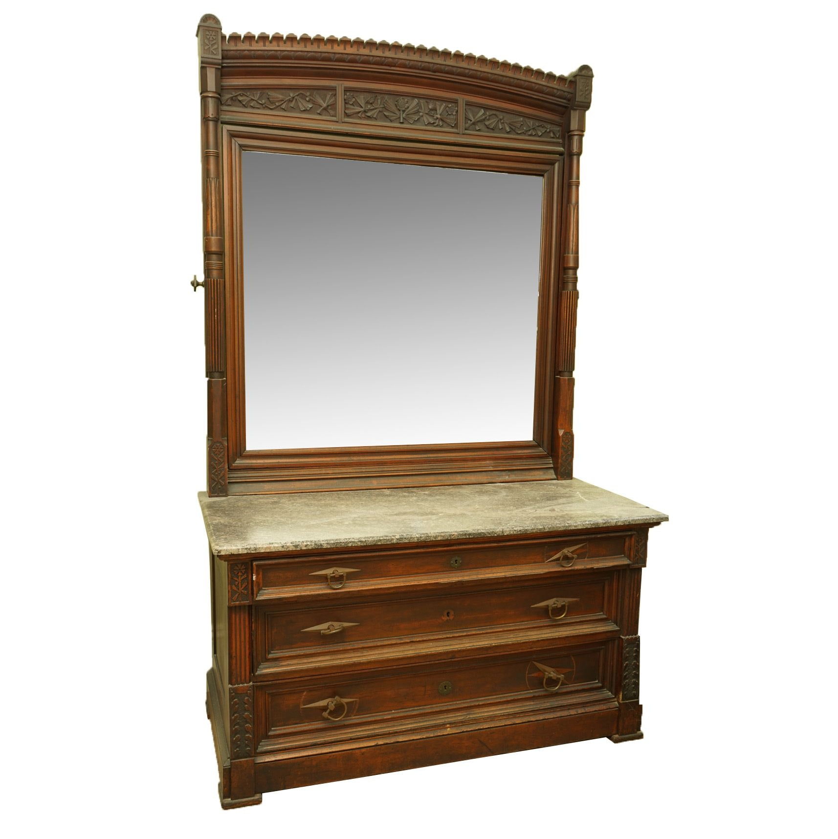 Antique Eastlake Mahogany Stone Top Chest of Drawers with Mirror