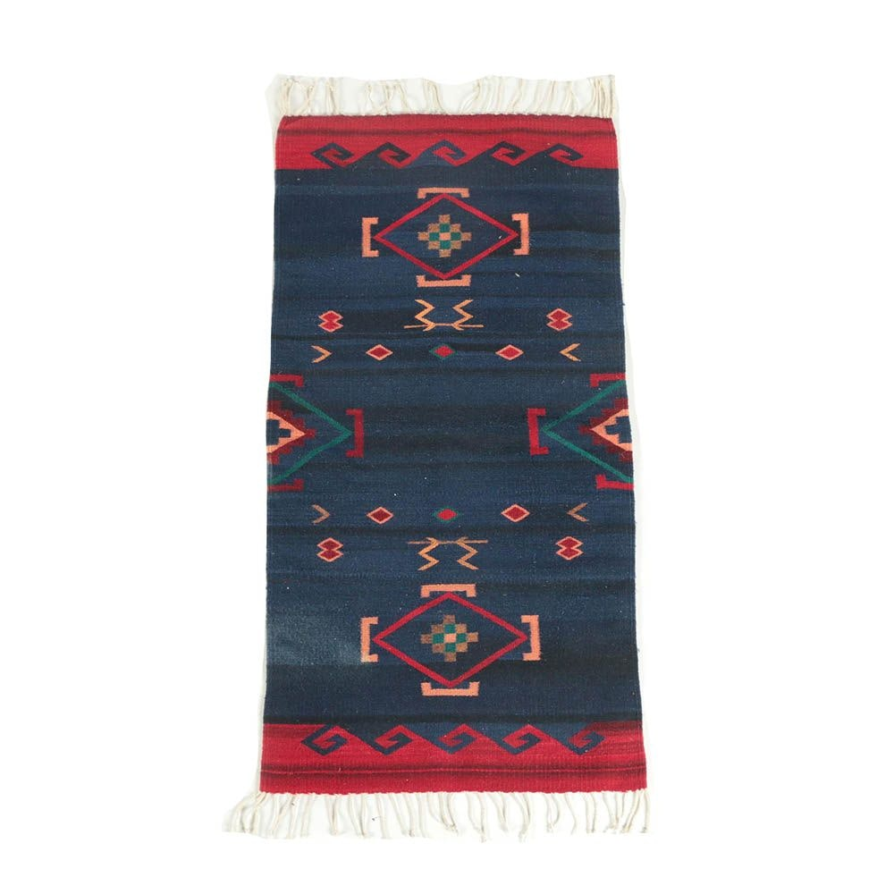 Handwoven Mexican Zapotec Style Wool Accent Rug