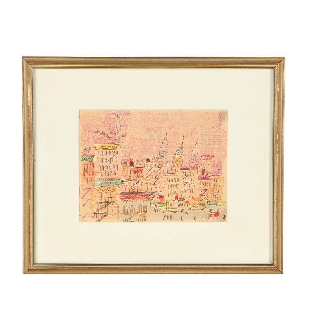 "1955 Rhonda Ink and Wax Crayon Drawing ""Manhattan"""