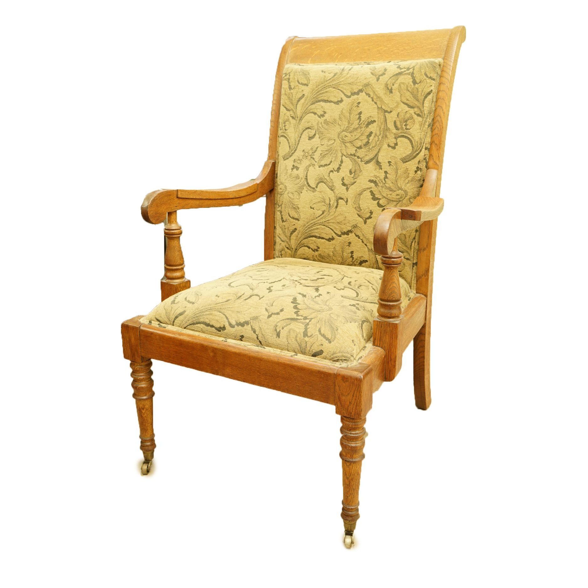 Vintage Oak Upholstered Armchair