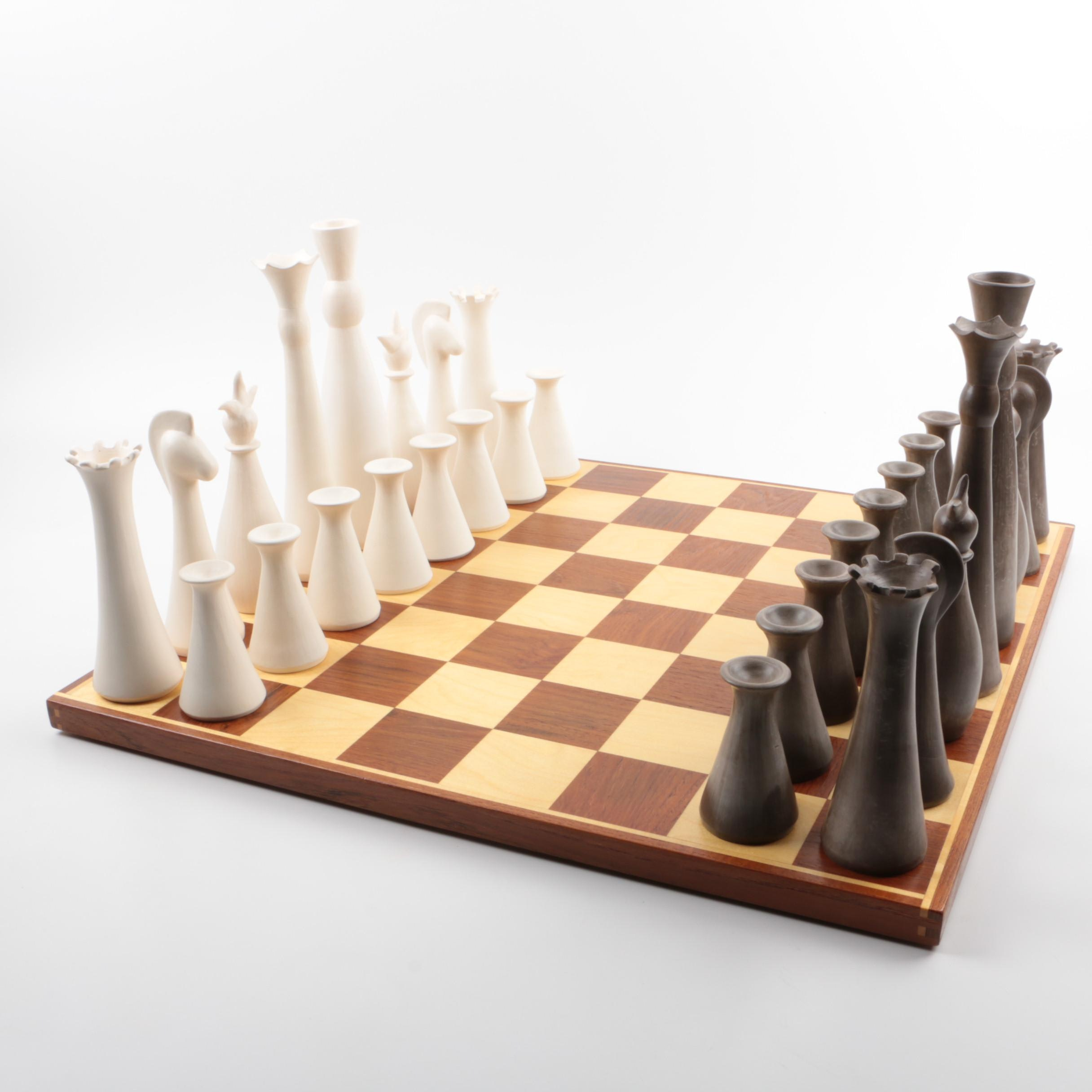 French Artist Marilyn Vergne Ceramic Chess Set and Board
