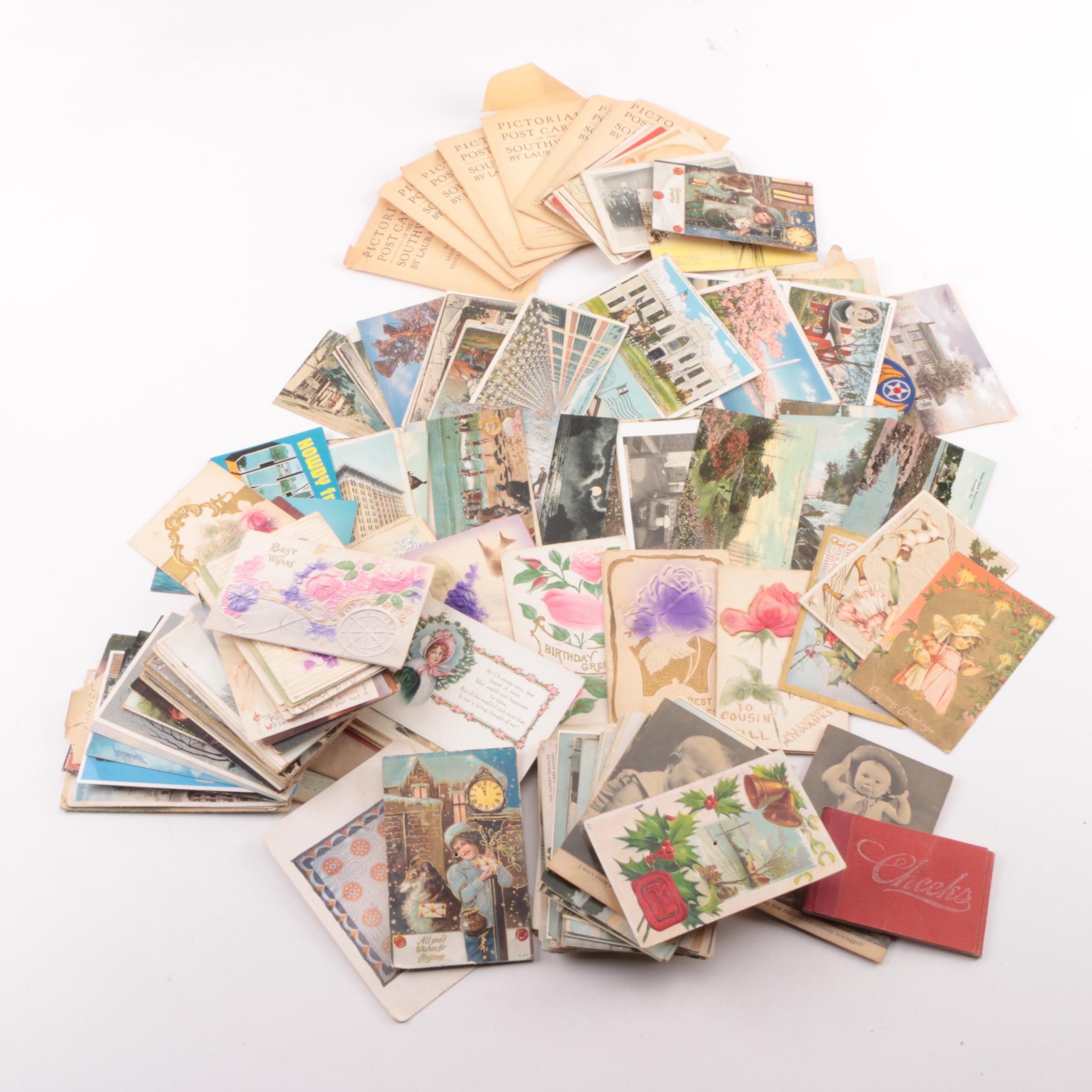 Antique Post Cards with Baseball Cards and Other Ephemera